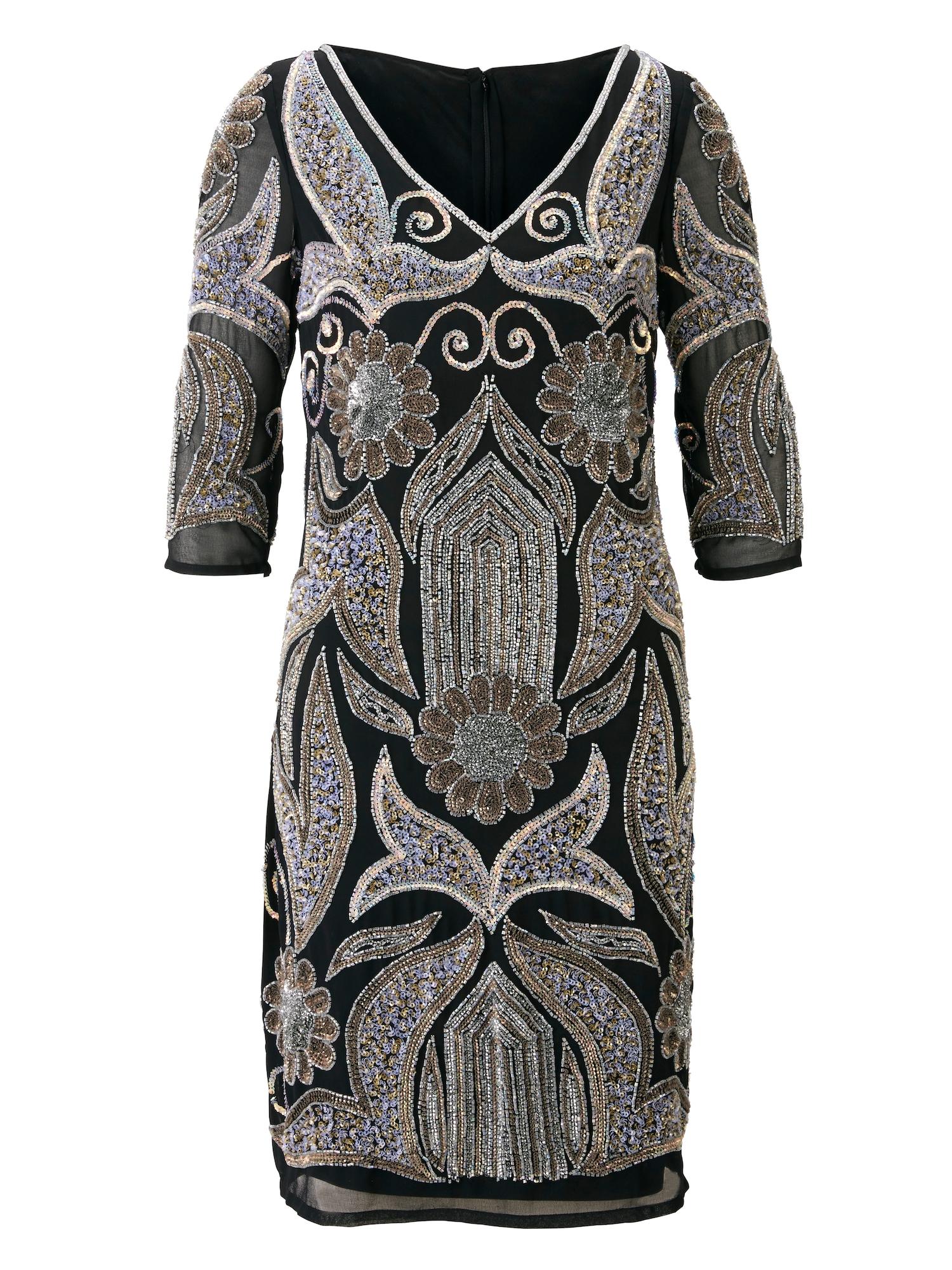 Koktejlové šaty černá stříbrná Heine
