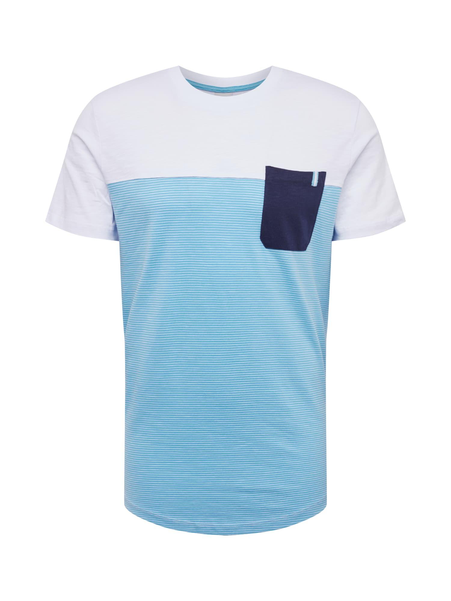 Tričko COSECT aqua modrá bílá JACK & JONES