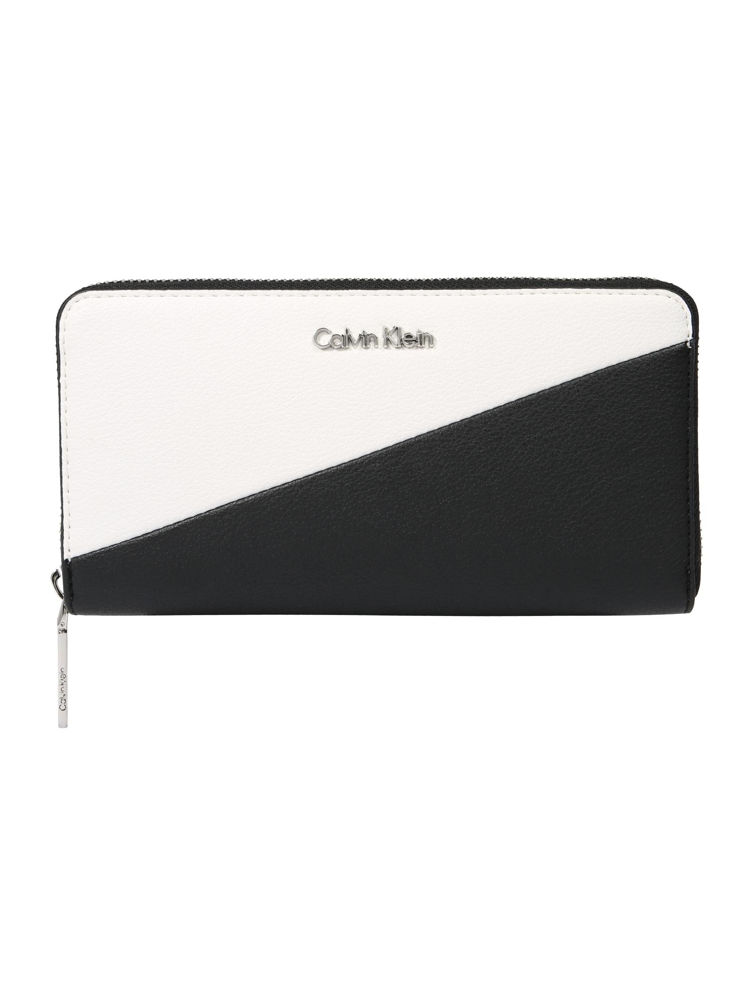 Peněženka STRAP LARGE ZIPAROUND černá bílá Calvin Klein