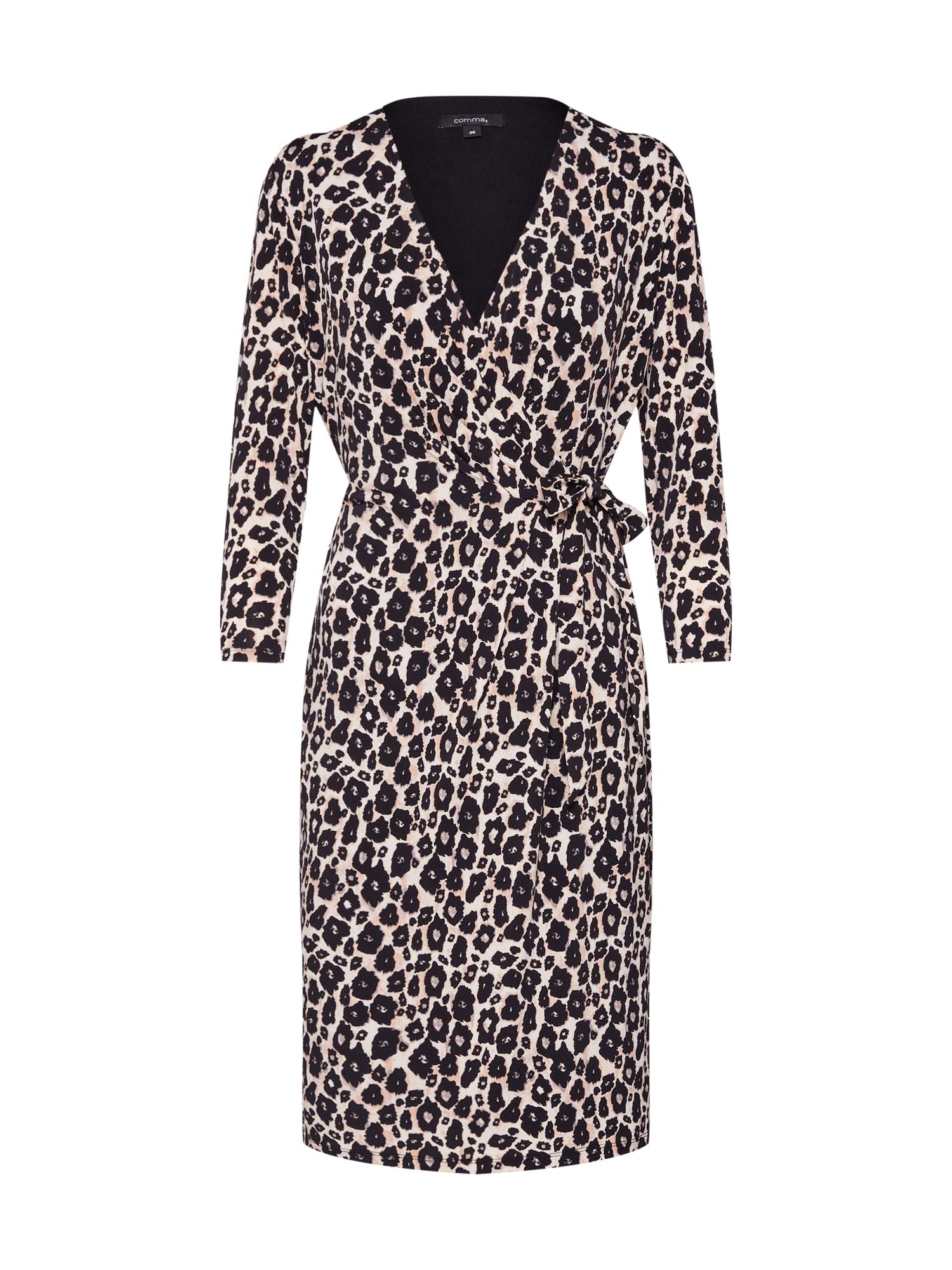 Letní šaty KLEID KURZ béžová hnědá mix barev černá COMMA