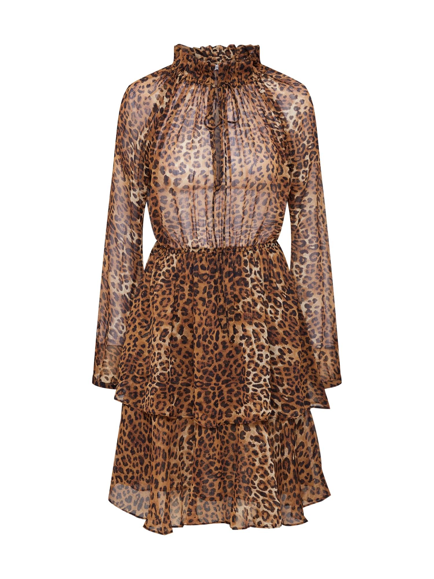 Koktejlové šaty High Neck Frill Layer Dress hnědá černá NA-KD