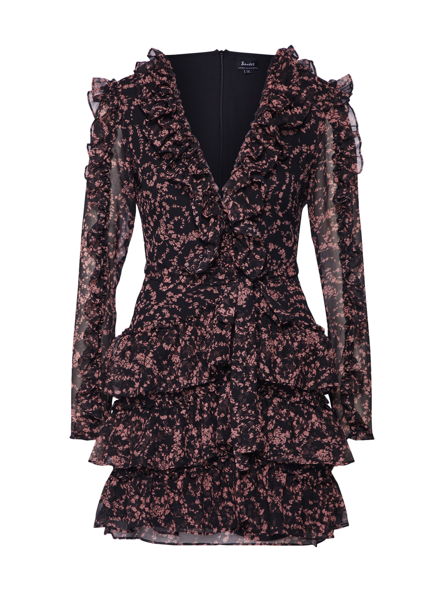 Šaty ALESSIA FRILL DRESS starorůžová černá Bardot