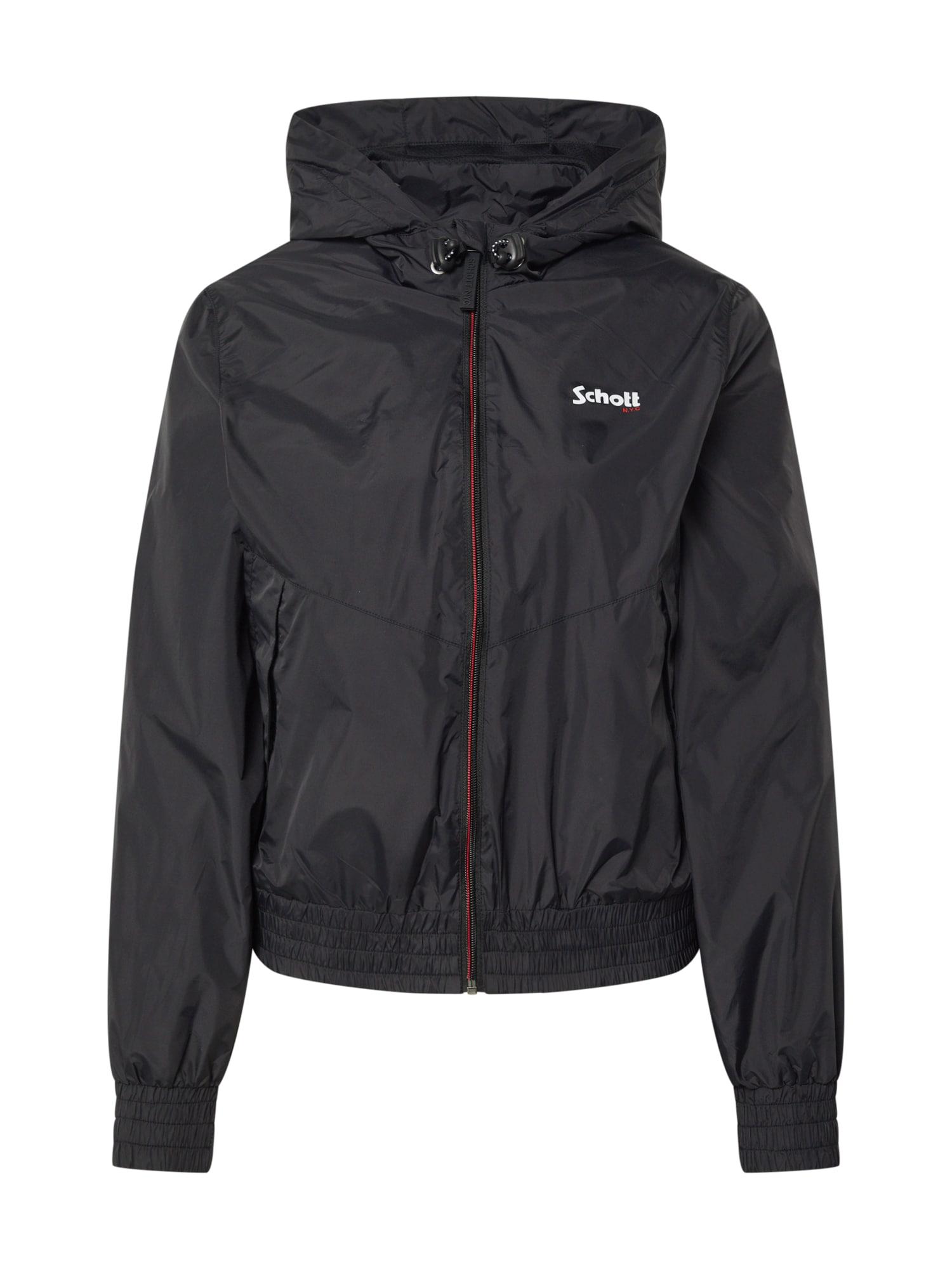 Schott NYC Prechodná bunda 'SCHOTT VESTE A CAPUCHE AVEC EMPIECE'  čierna
