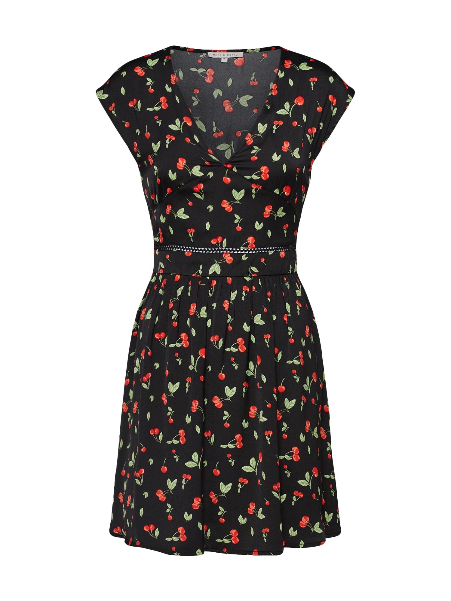Koktejlové šaty M32_FW18_2-1-C_017 červená černá Mint&berry