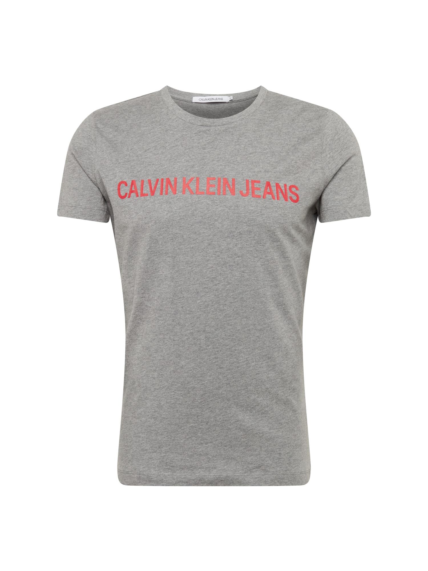 Tričko INSTITUTIONAL SLIM LOGO TEE šedá červená Calvin Klein Jeans