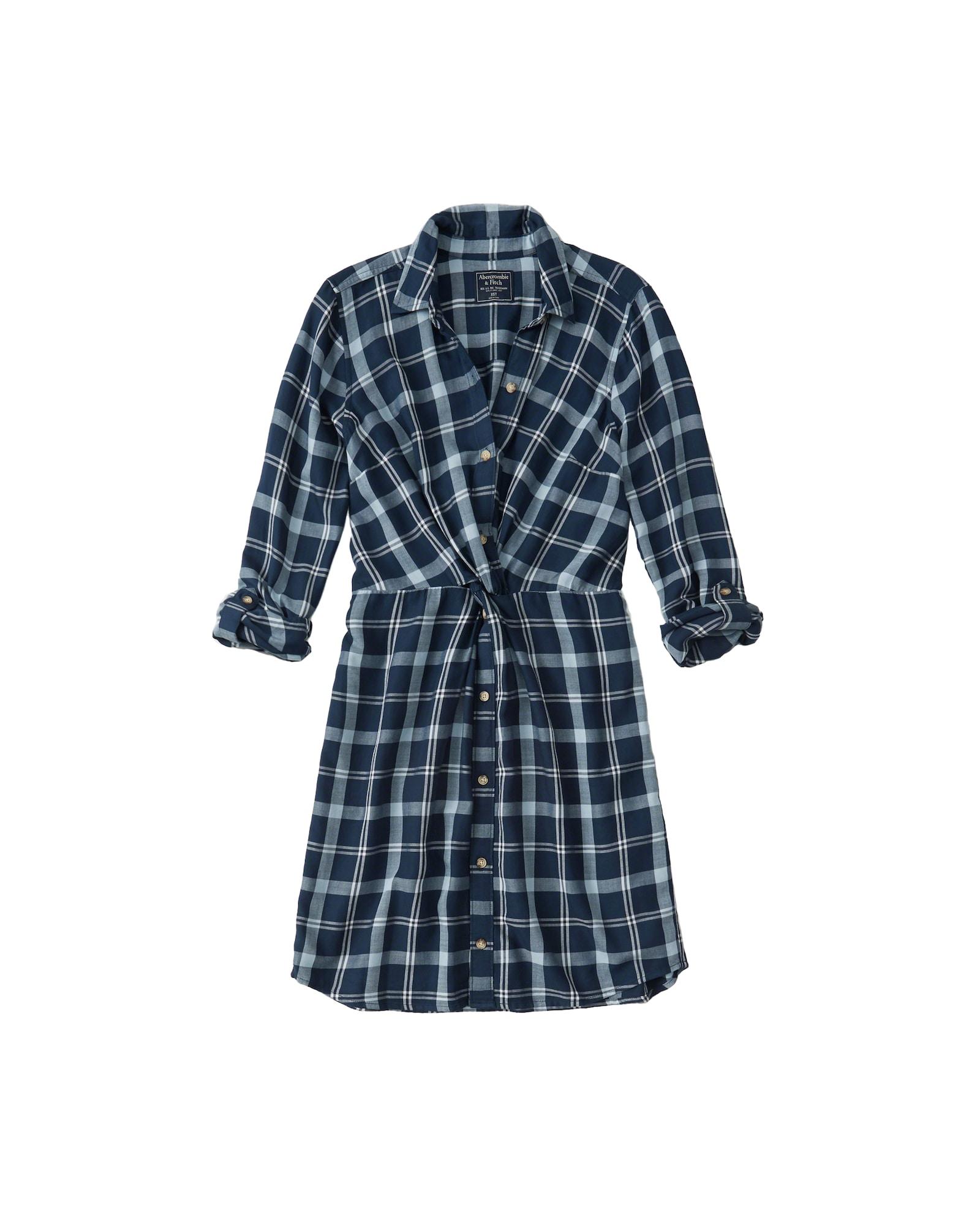 Košilové šaty KNOT FRONT SHIRTDRESS modrá Abercrombie & Fitch