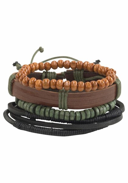 Armbaender für Frauen - J. Jayz Armband Set braun dunkelgrün schwarz  - Onlineshop ABOUT YOU