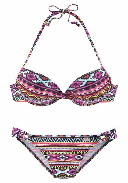 Bademode für Frauen - LASCANA Push up Bikini hellgelb pink schwarz weiß  - Onlineshop ABOUT YOU