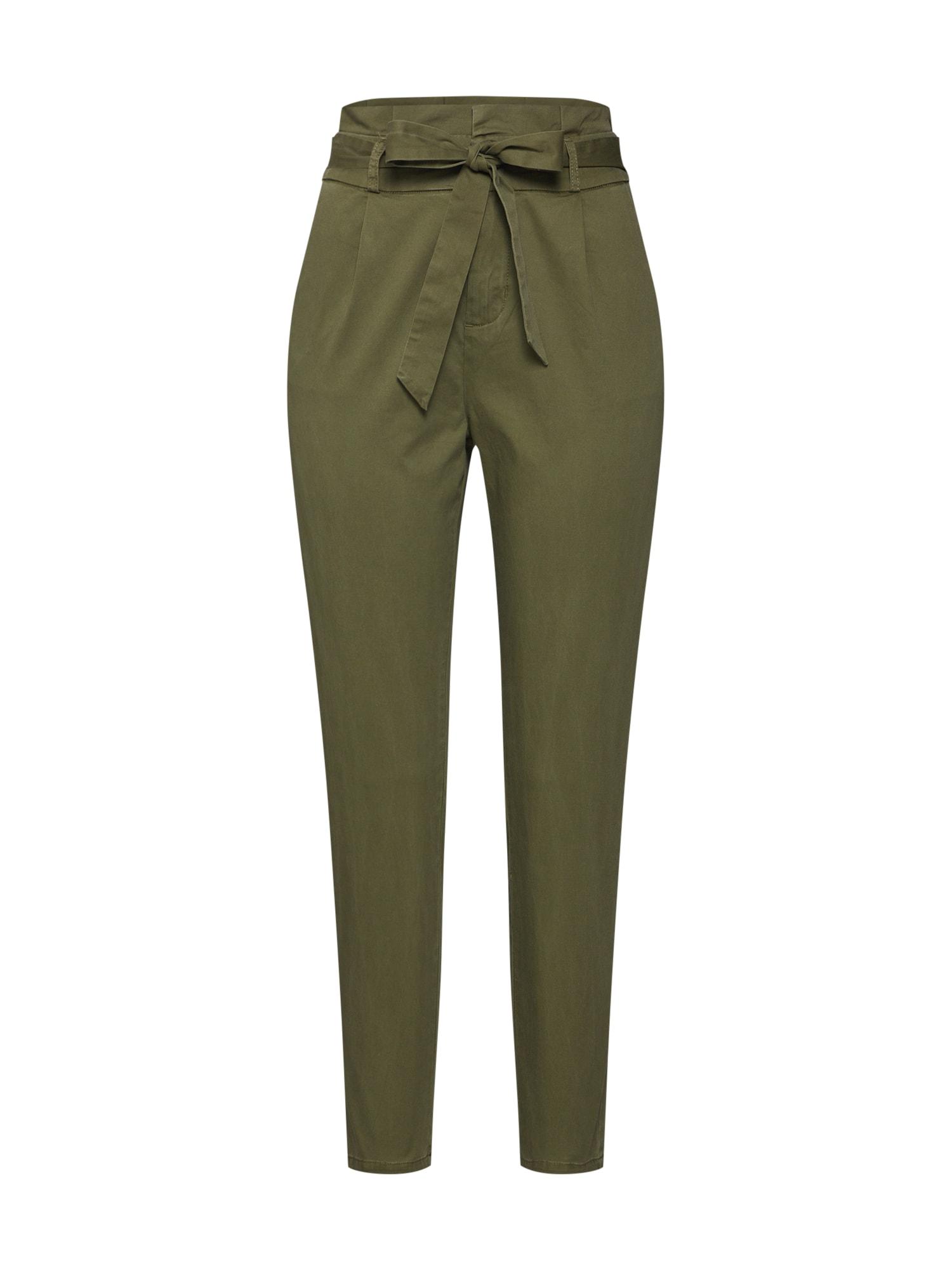 Kalhoty se sklady v pase Eva khaki VERO MODA