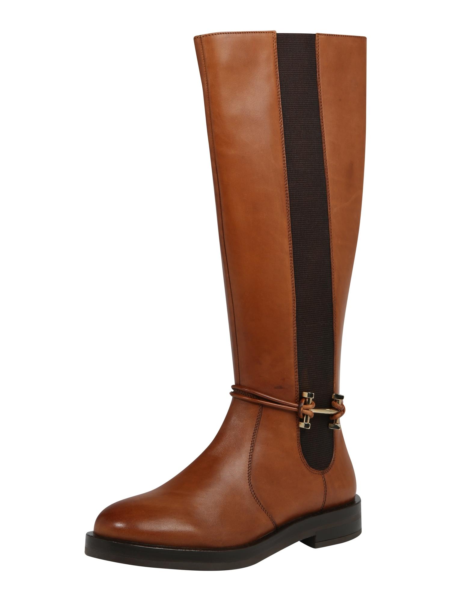 ABOUT YOU Auliniai batai su kulniuku 'Flora' ruda (konjako) / juoda