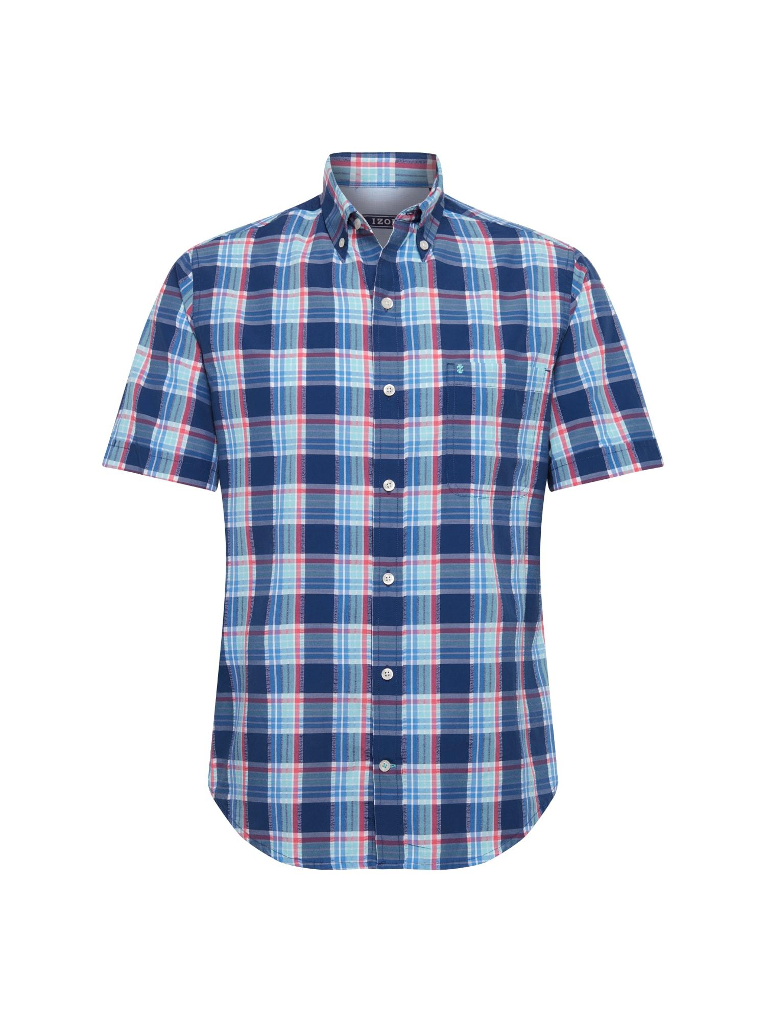 Košile SEERSUCKER PLAID BD SS SHIRT modrá IZOD