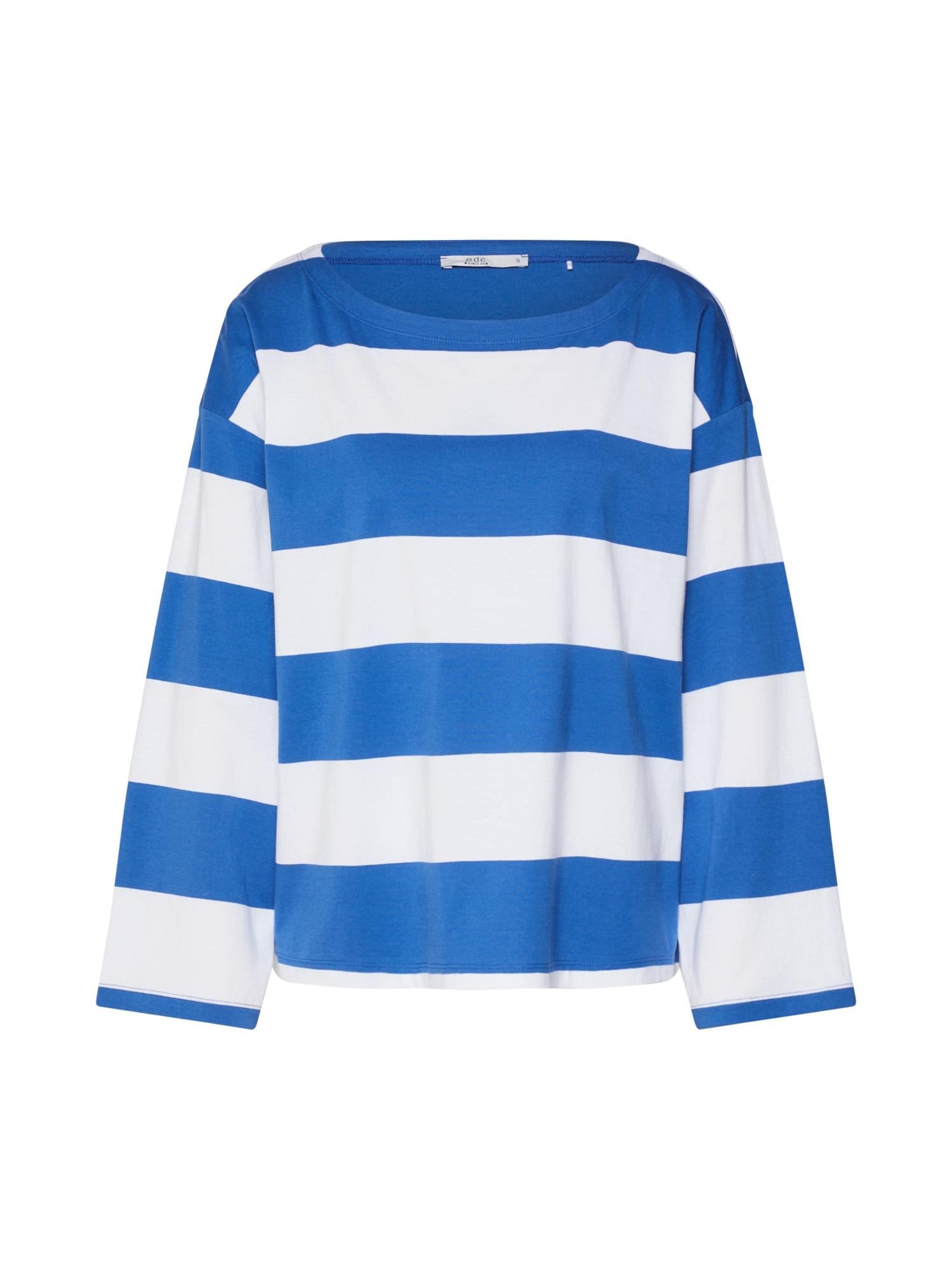 EDC BY ESPRIT Marškinėliai šviesiai mėlyna / balta