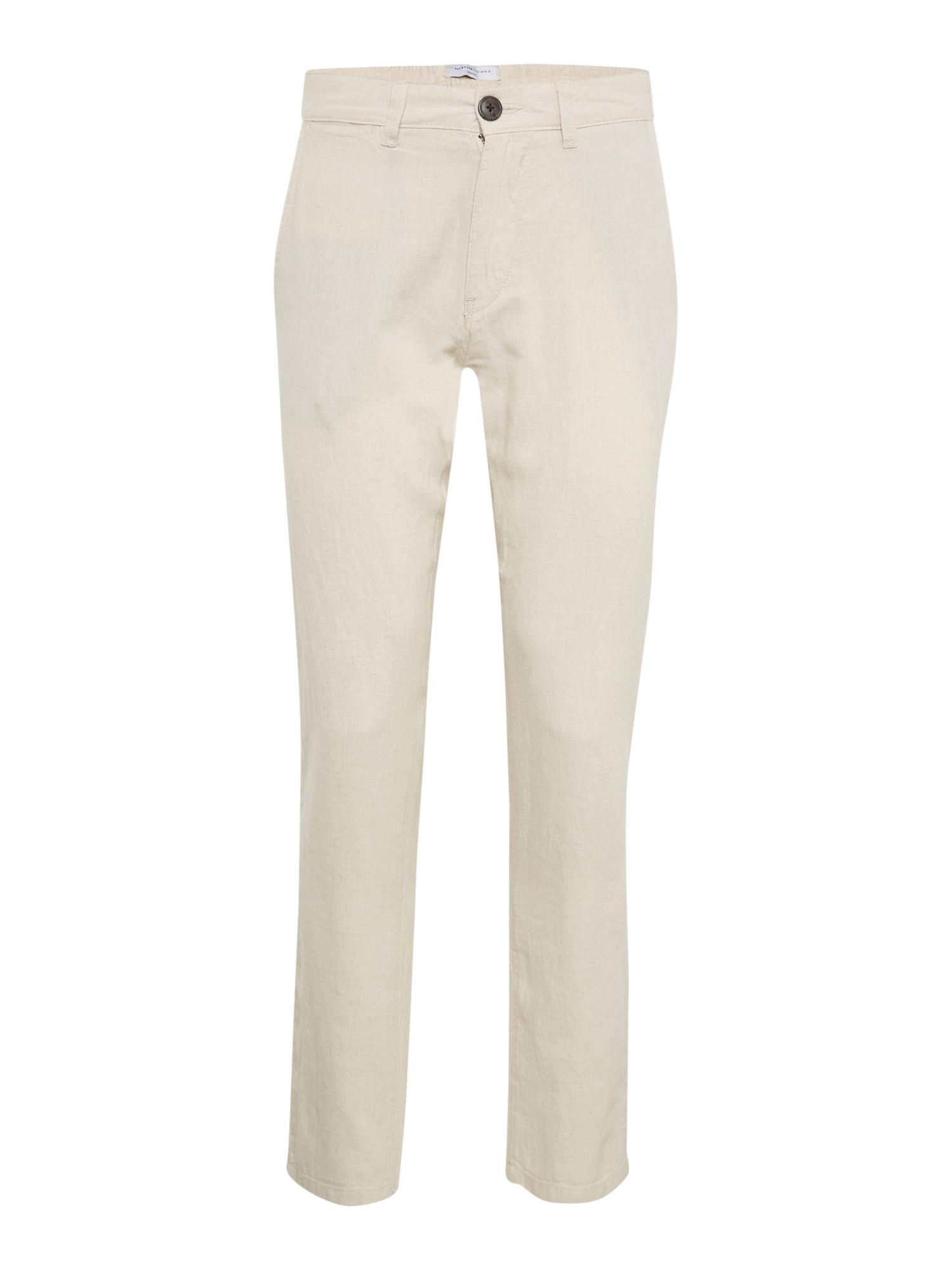 Chino kalhoty SHDJAMES OYSTER GREY LINEN TAPERED PANTS béžová SELECTED HOMME