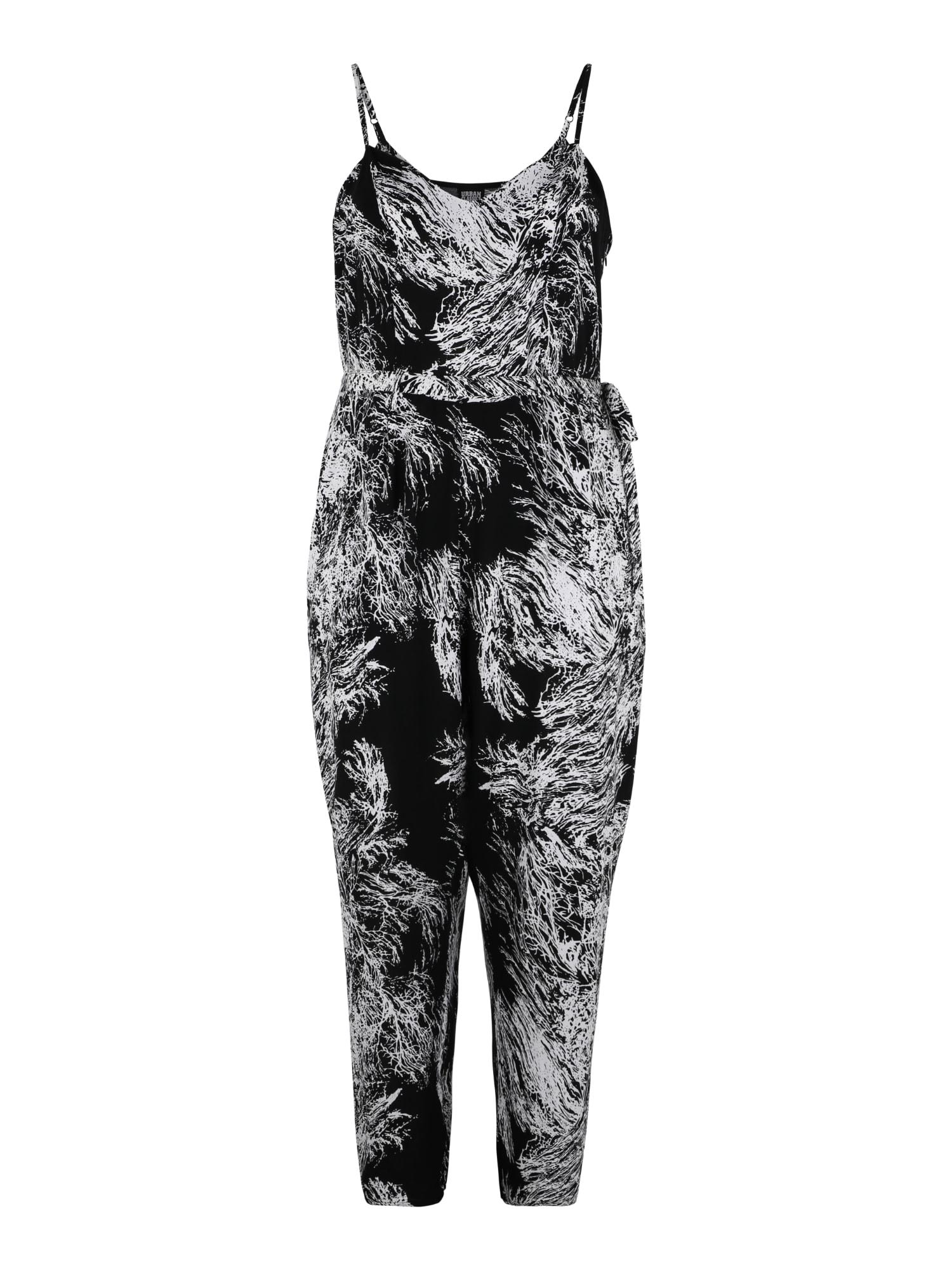 Urban Classics Curvy Vienos dalies kostiumas juoda / balta
