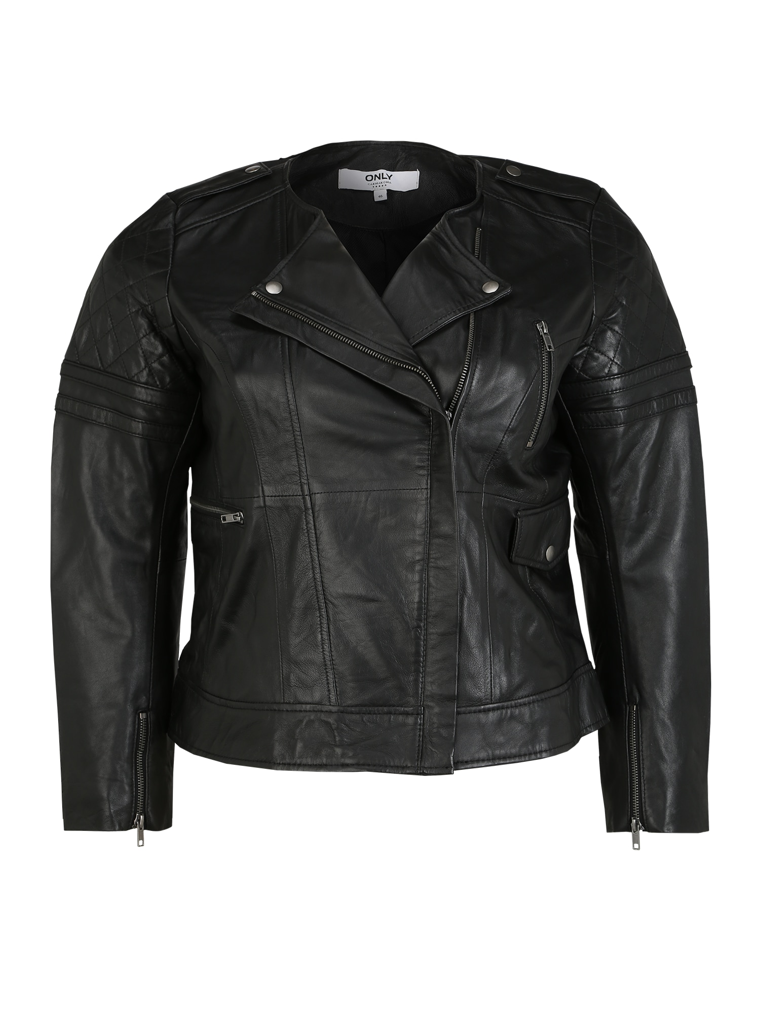 ONLY Carmakoma Demisezoninė striukė 'CARROCK LEATHER JACKET PRINT' juoda