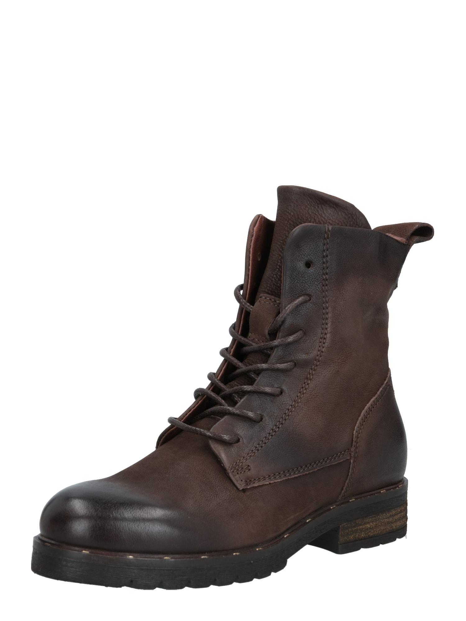 MJUS Suvarstomieji kulkšnis dengiantys batai tamsiai ruda