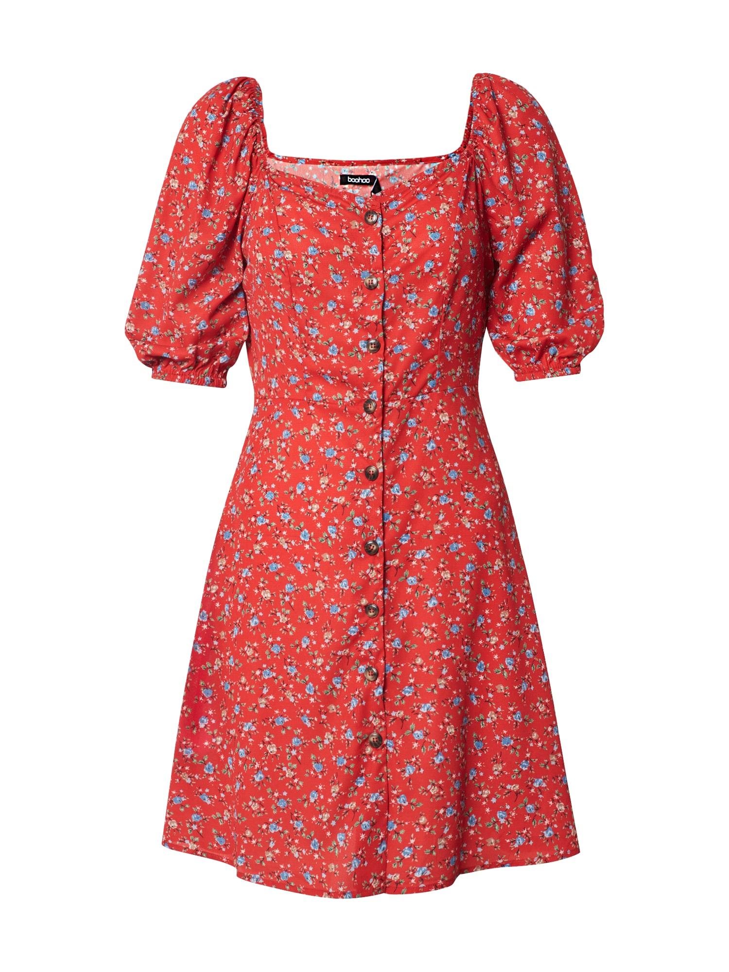 Boohoo Vasarinė suknelė 'Floral Square Neck Mini Dress' raudona