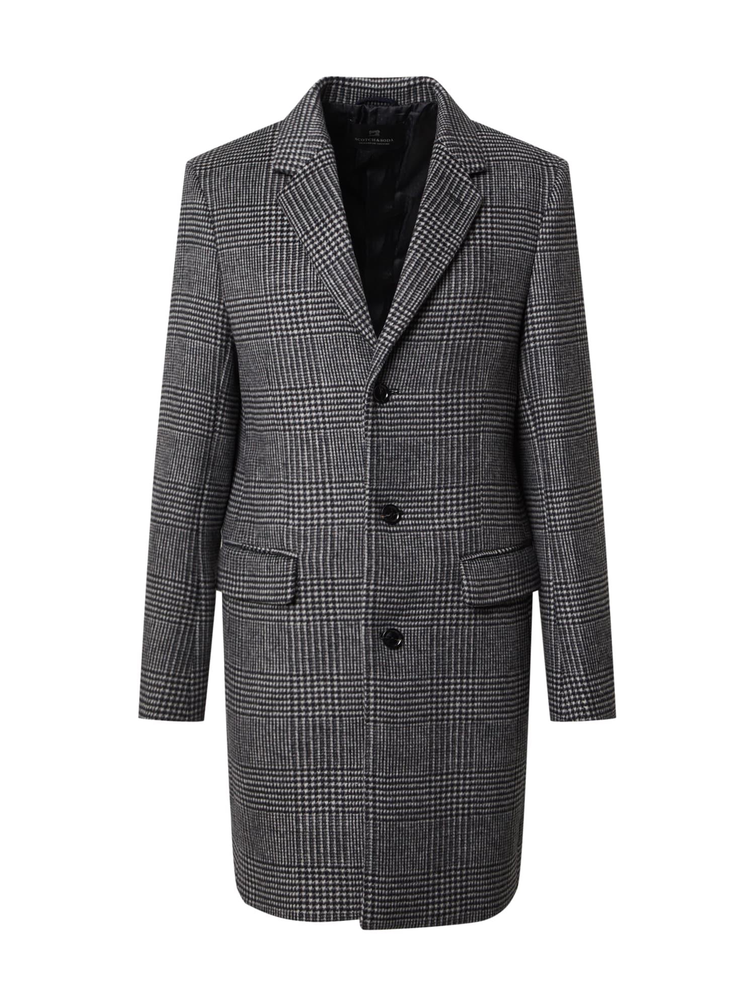 SCOTCH & SODA Demisezoninis paltas tamsiai pilka / balta / juoda