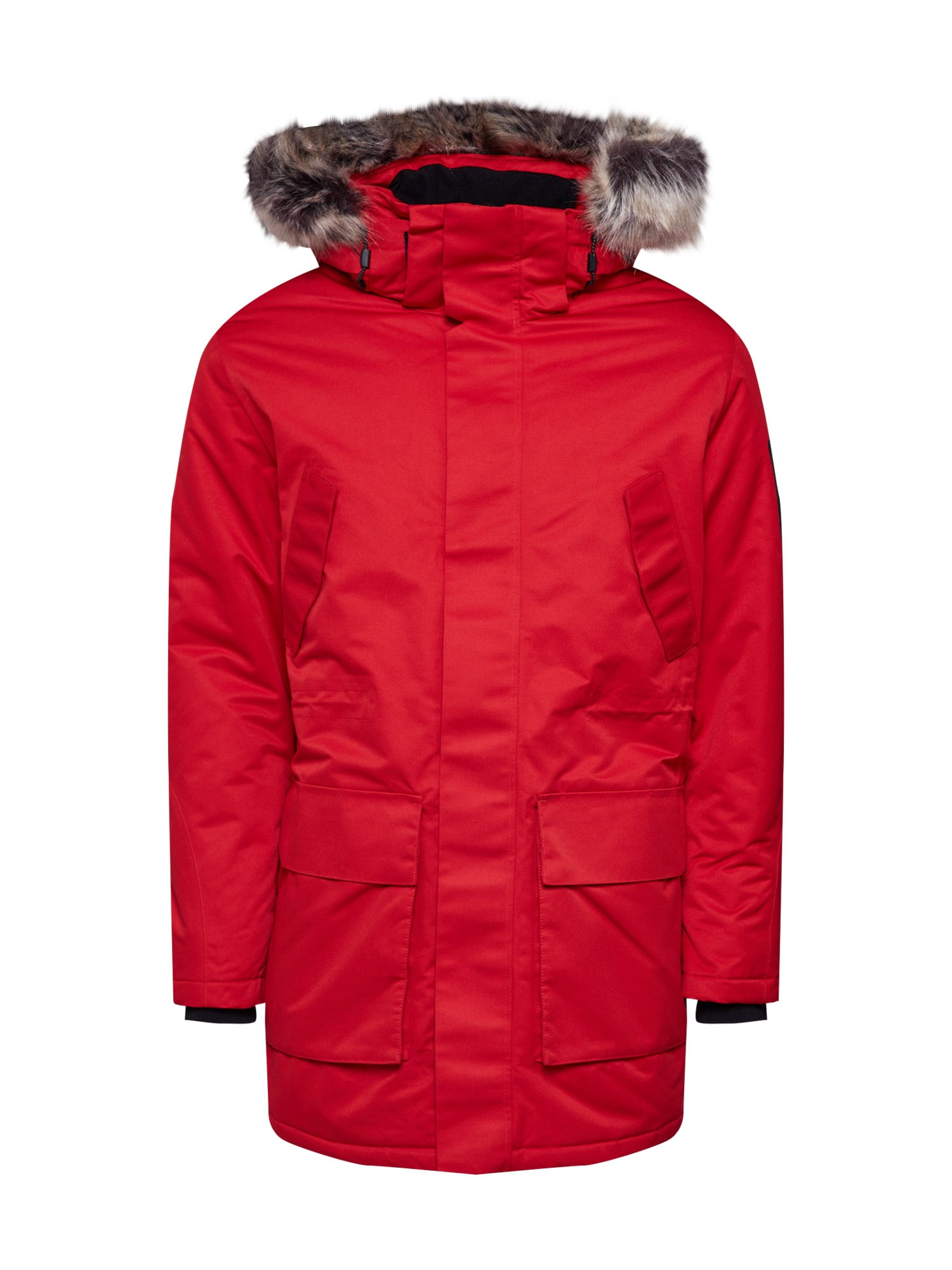 JACK & JONES Ilga žieminė striukė 'JCOMEYLAND PARKA.' raudona