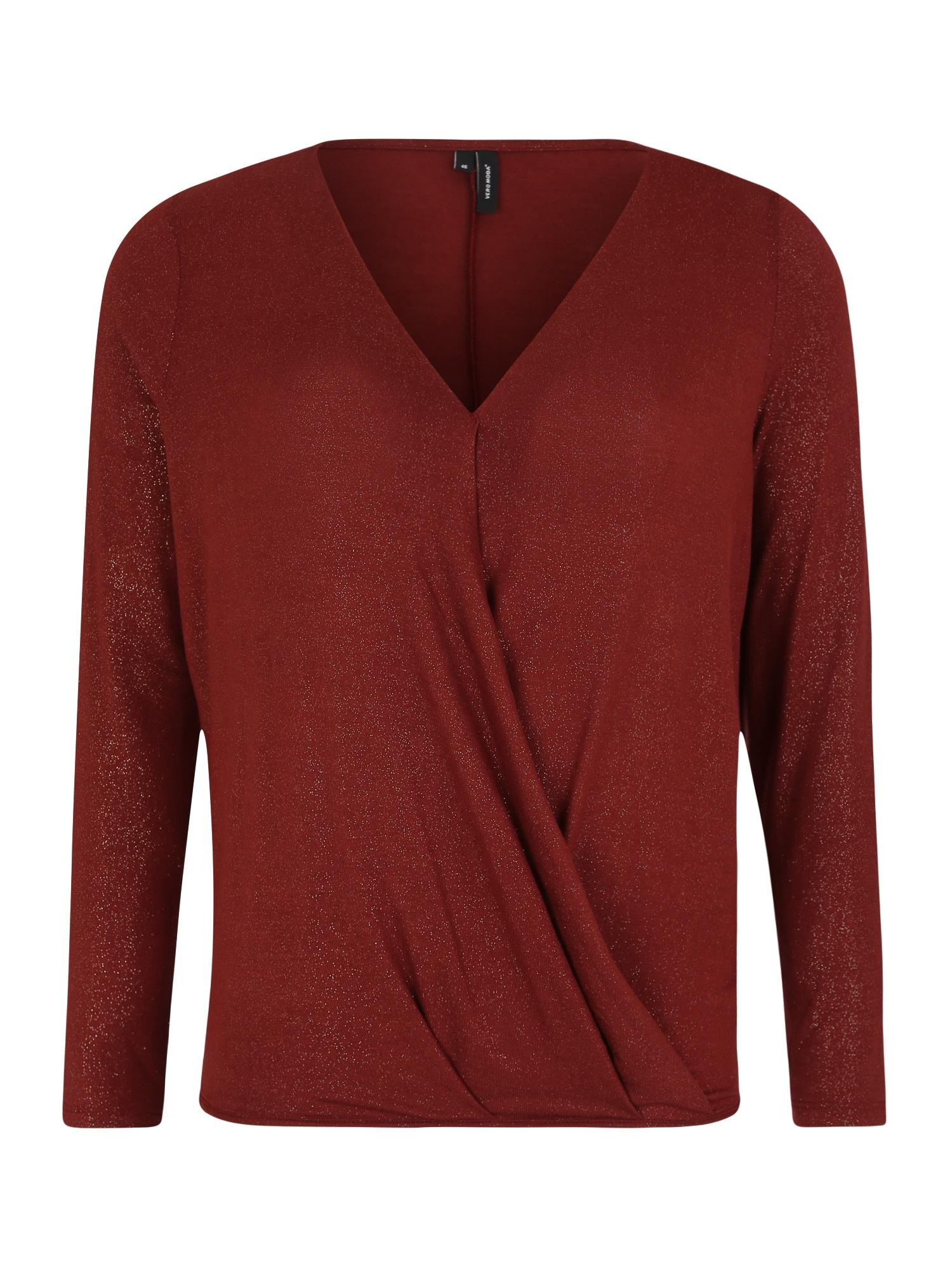 Vero Moda Curve Marškinėliai 'VMHONEY LS GLITTER WRAP TOP VO CURVE' rusva