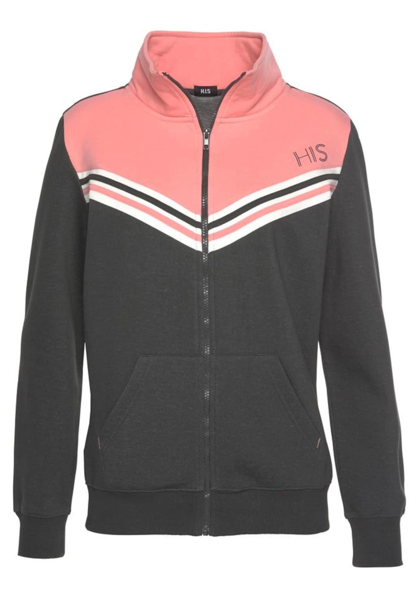 HIS JEANS Džemperis bazalto pilka / šviesiai rožinė / balta