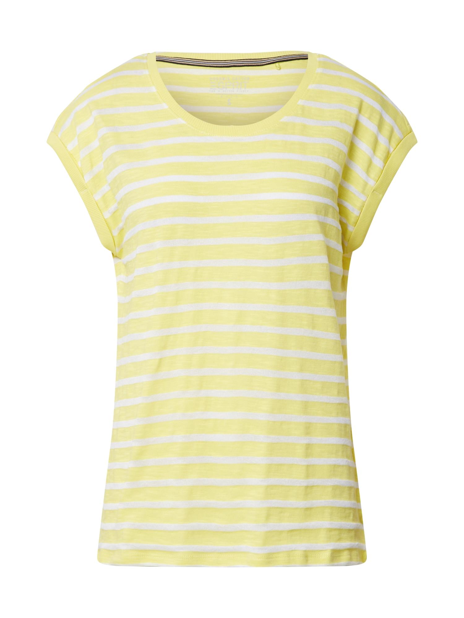ESPRIT Marškinėliai geltona / balta