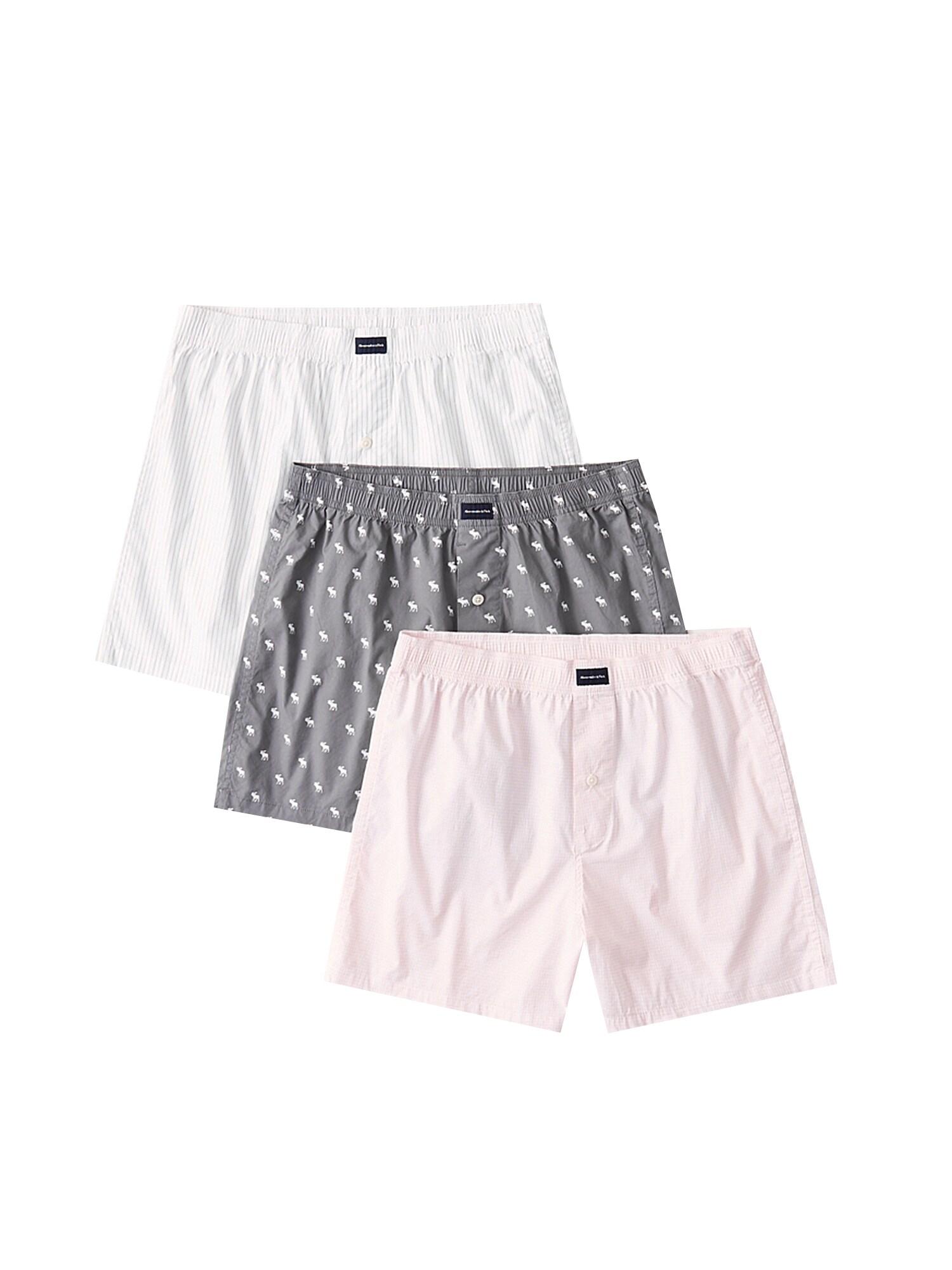 Abercrombie & Fitch Boxer trumpikės balta / rožių spalva / pilka
