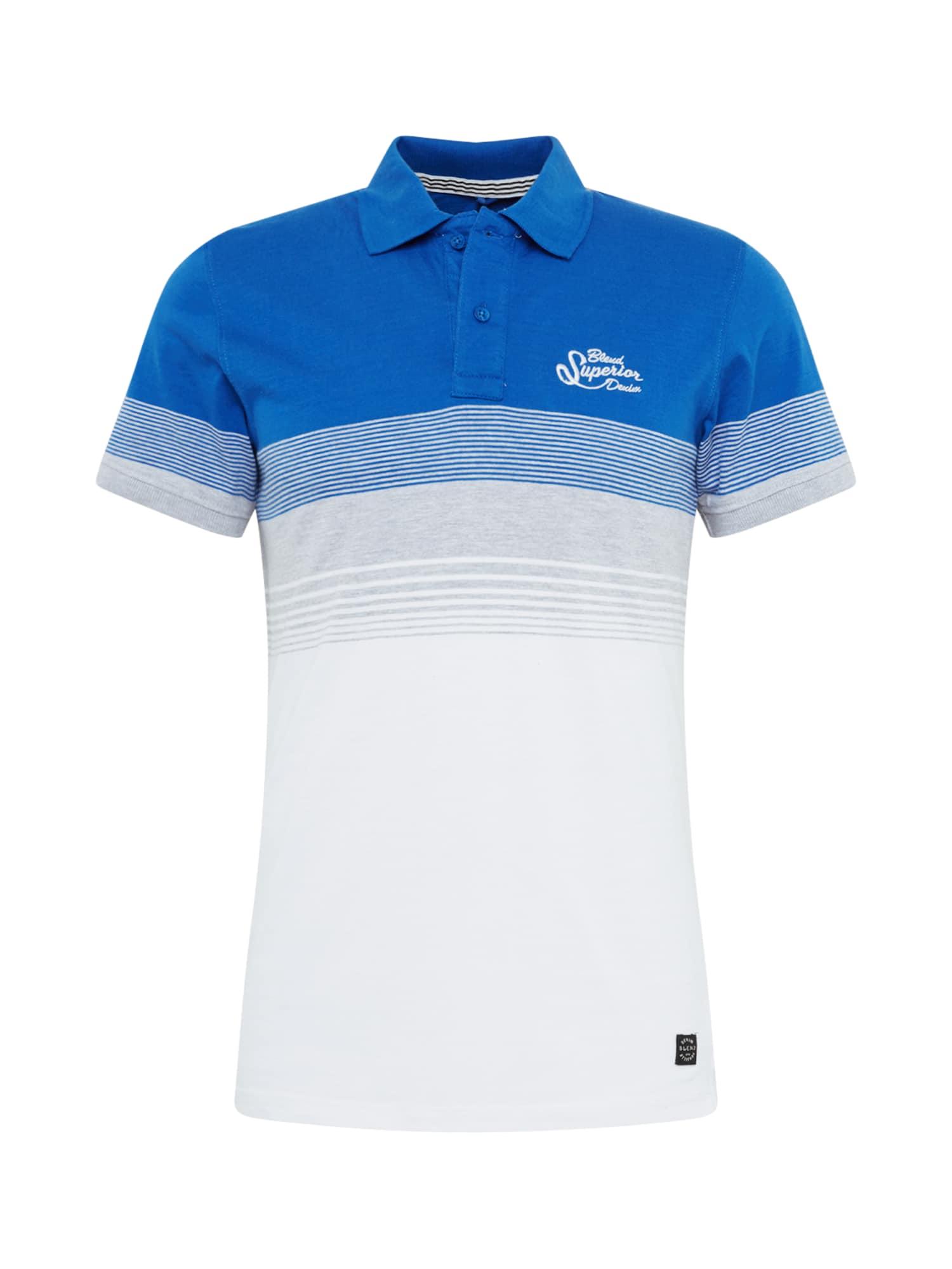 BLEND Marškinėliai mėlyna / balta / pilka