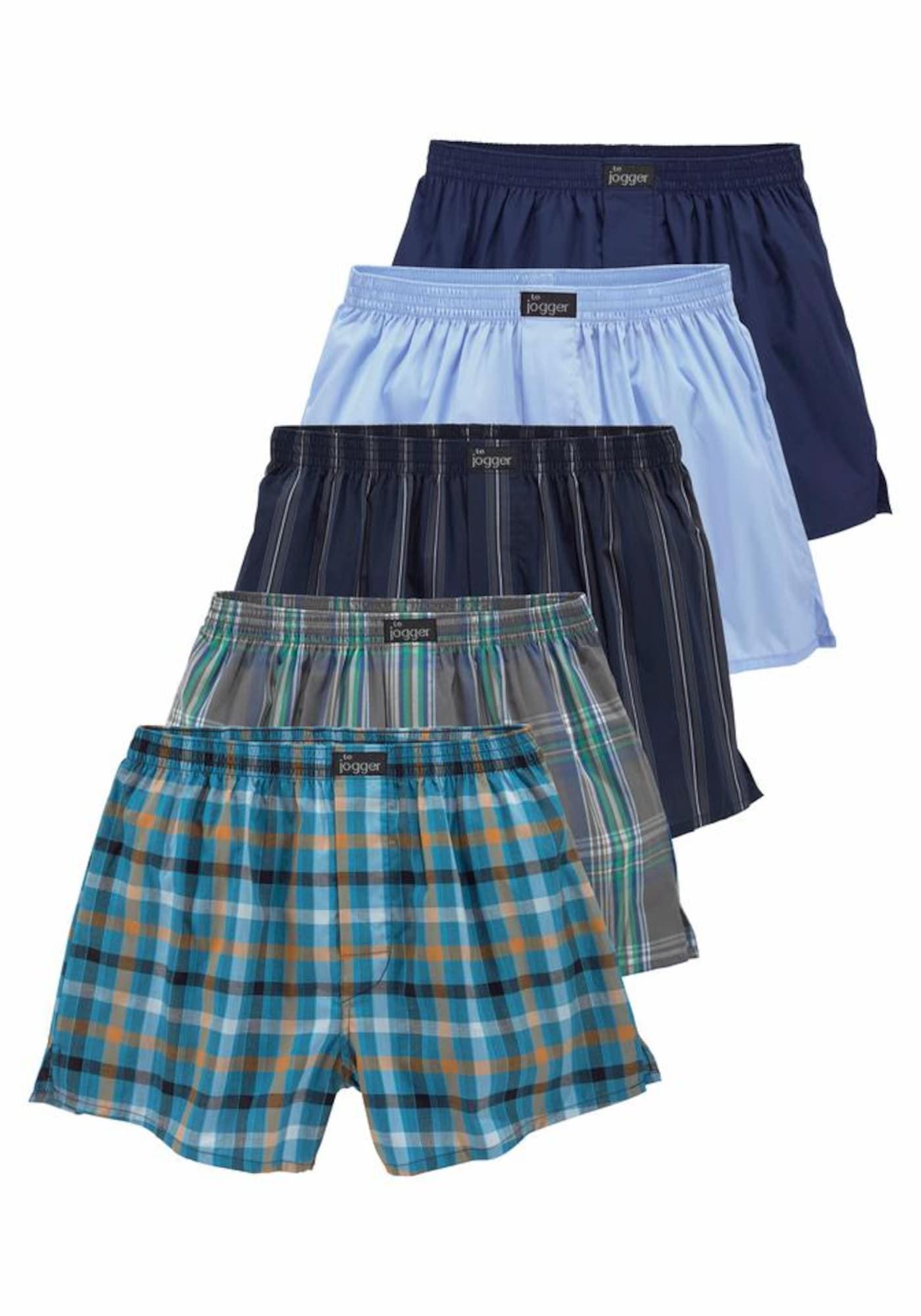 LE JOGGER Boxer trumpikės mėlyna / pilka / nefrito spalva / oranžinė / juoda