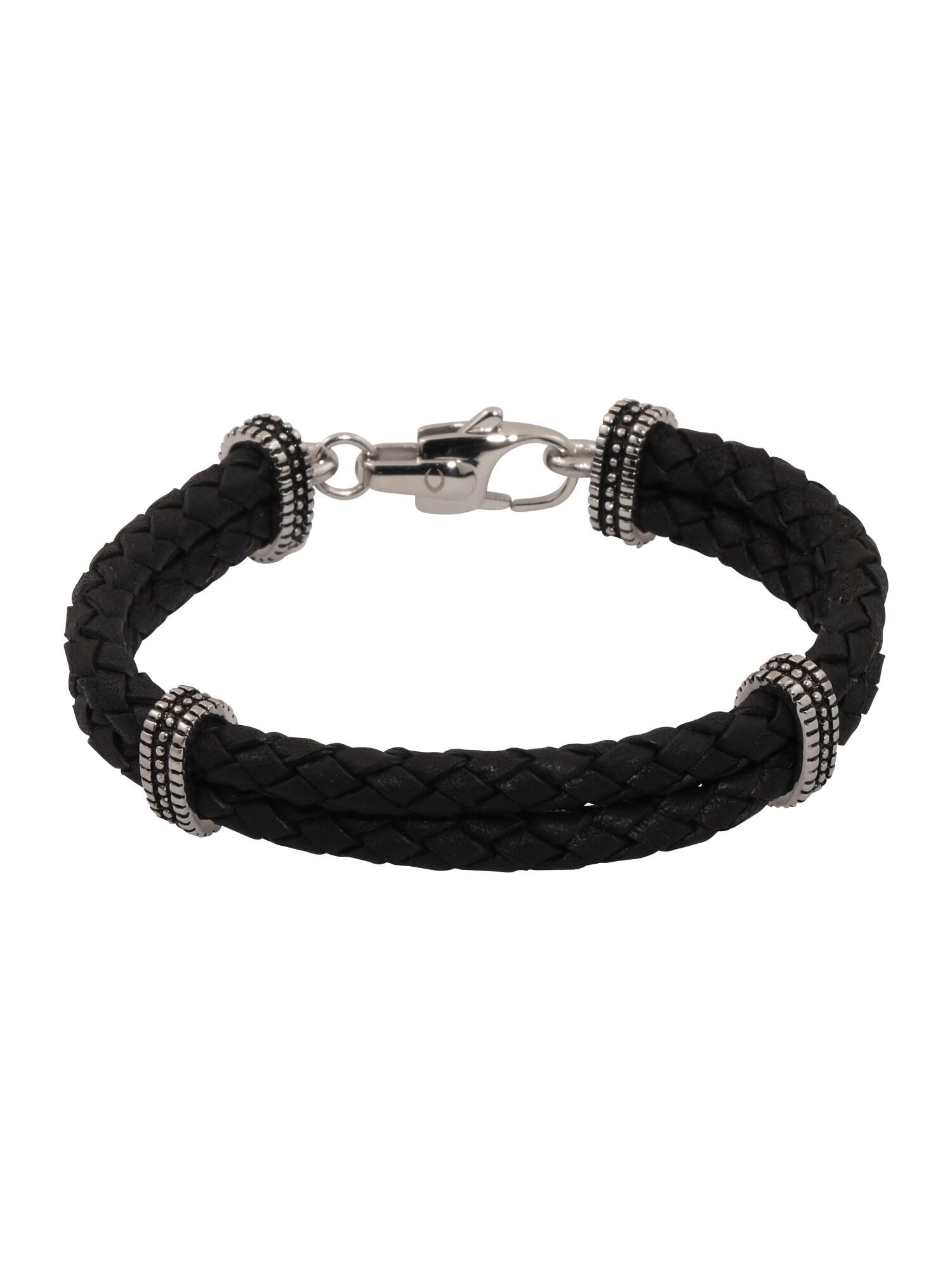 Náramek Leather Bracelet black černá ROYAL-EGO