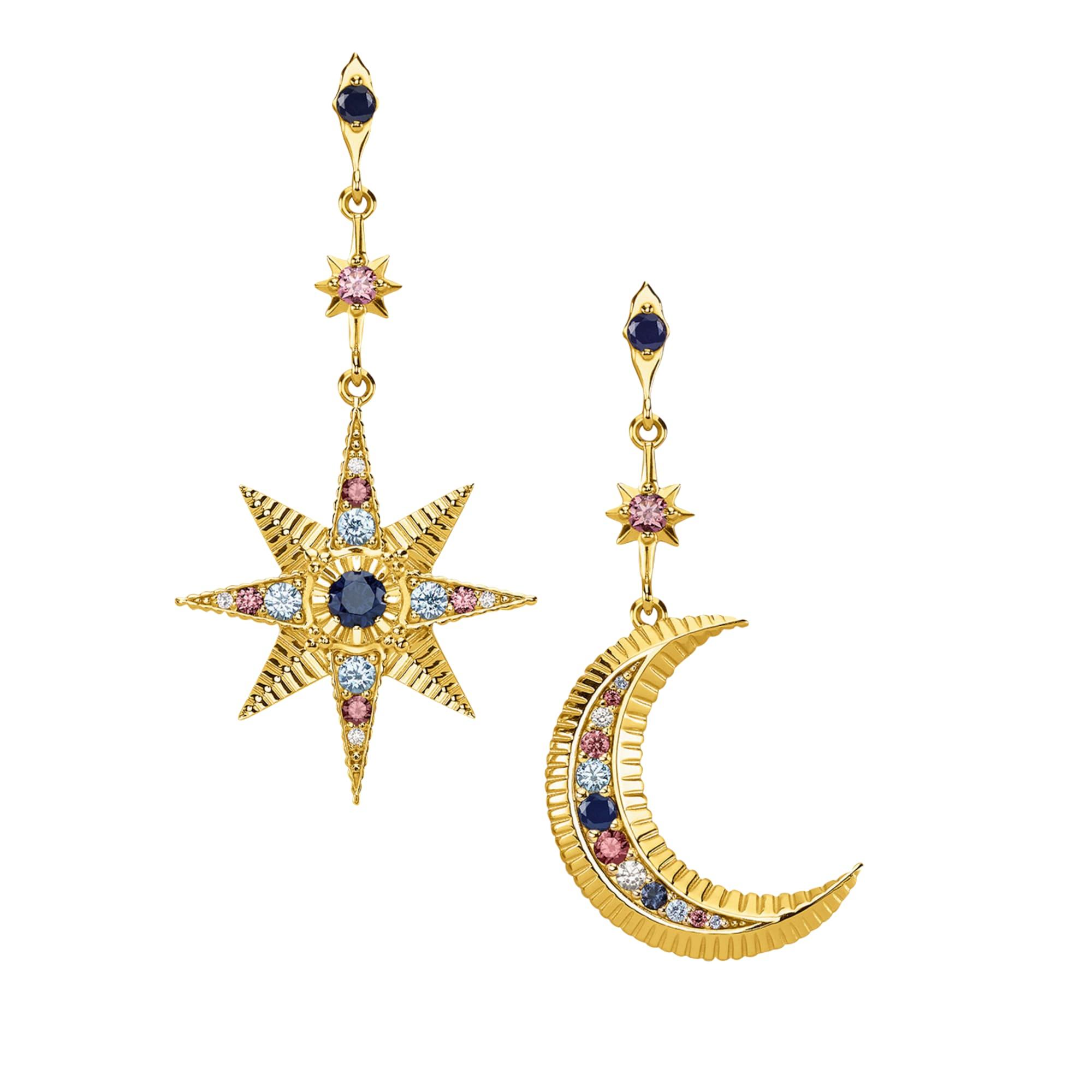 Náušnice Royalty Stern & Mond modrá zlatá růžová bílá Thomas Sabo