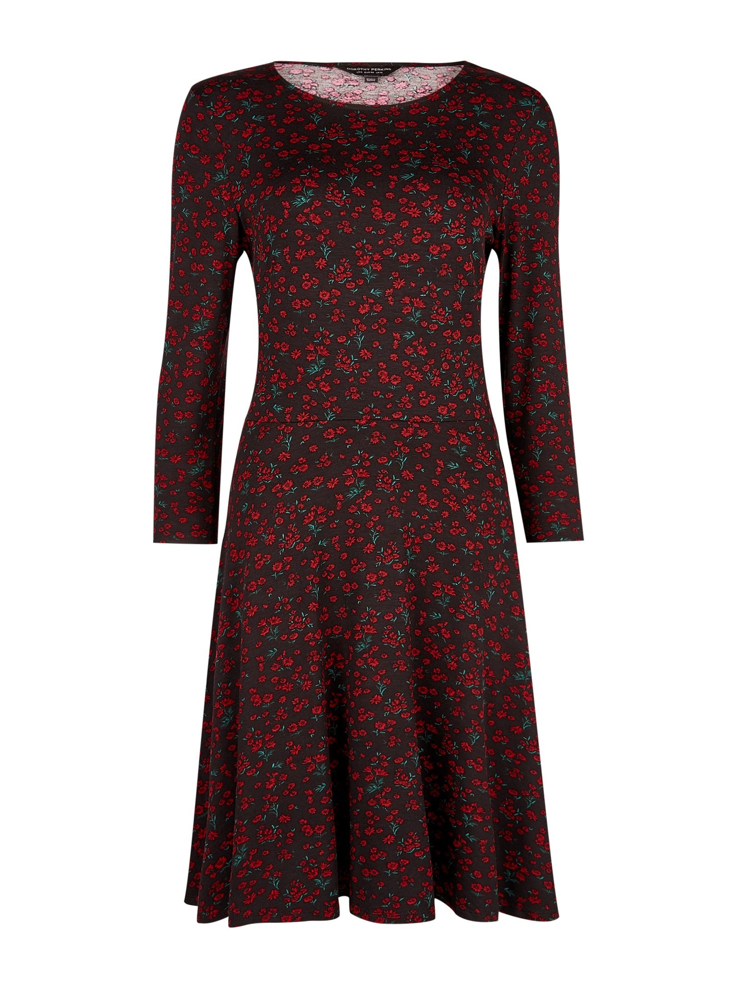 Dorothy Perkins Rochie 'RED DITSY FLORAL FIT AND FLARE'  roșu / negru
