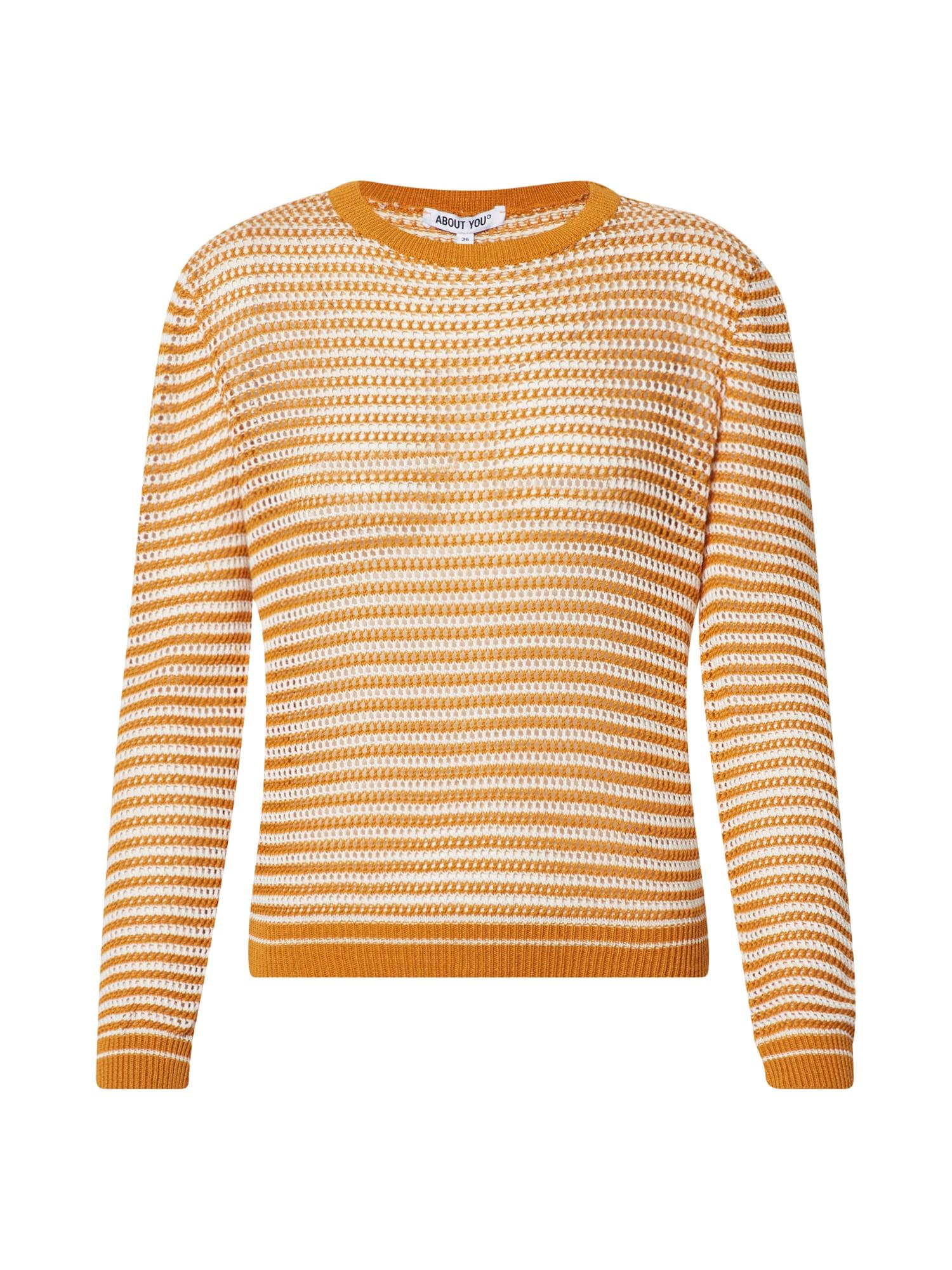 ABOUT YOU Megztinis 'Donia' balta / oranžinė