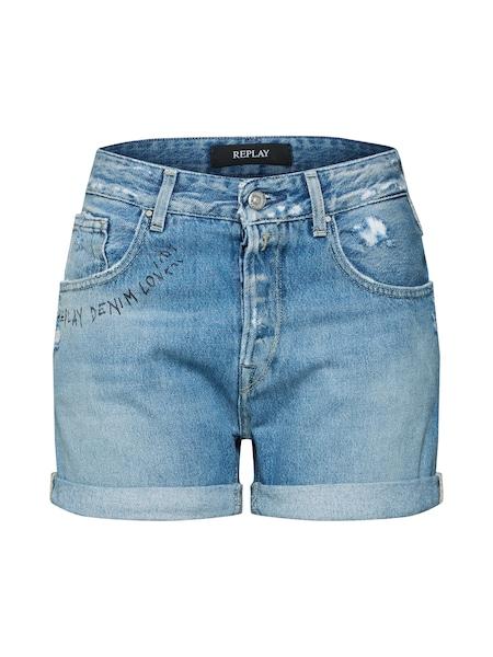 Hosen für Frauen - REPLAY Shorts 'Palmen' blue denim  - Onlineshop ABOUT YOU