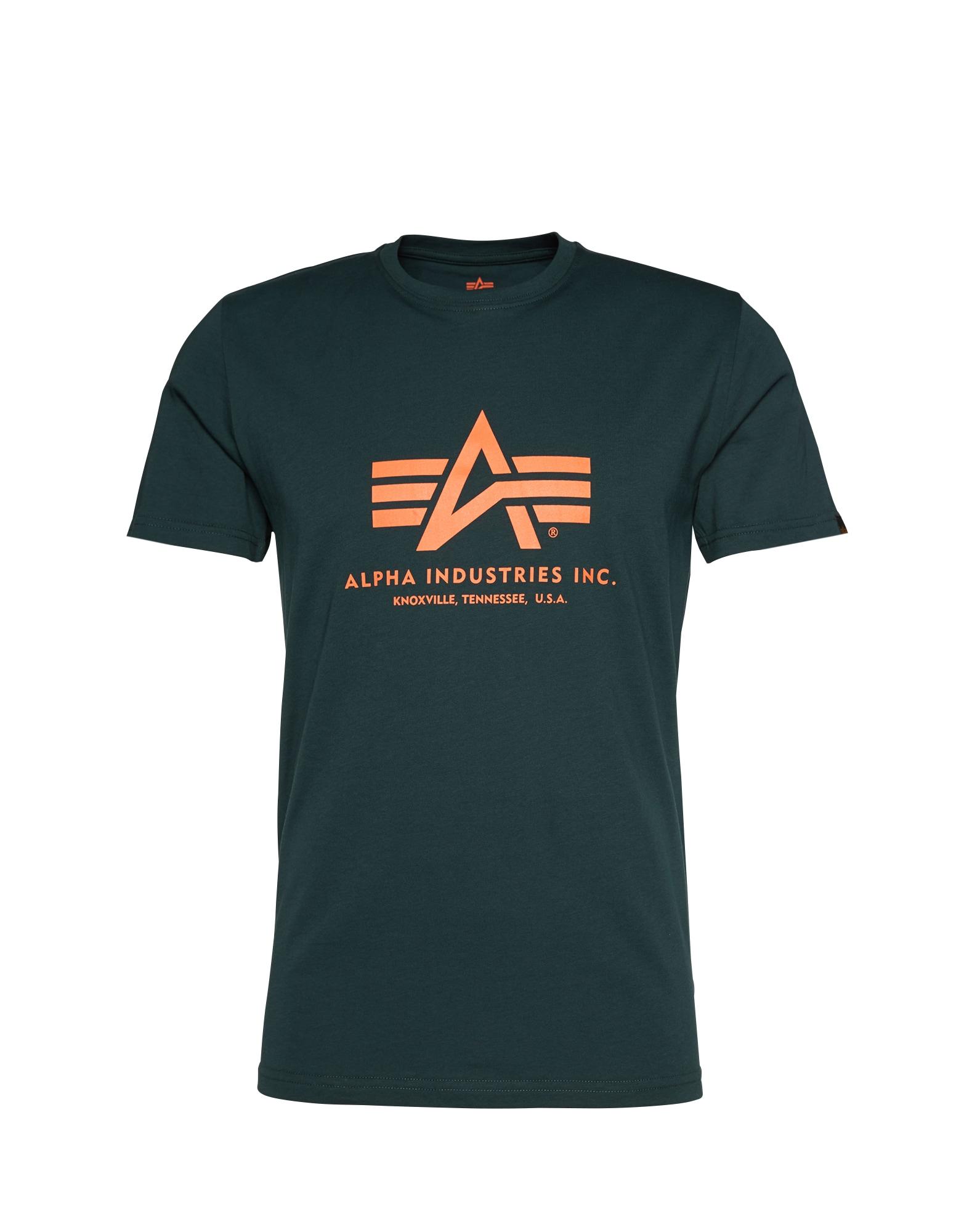 ALPHA INDUSTRIES Marškinėliai tamsiai žalia / oranžinė