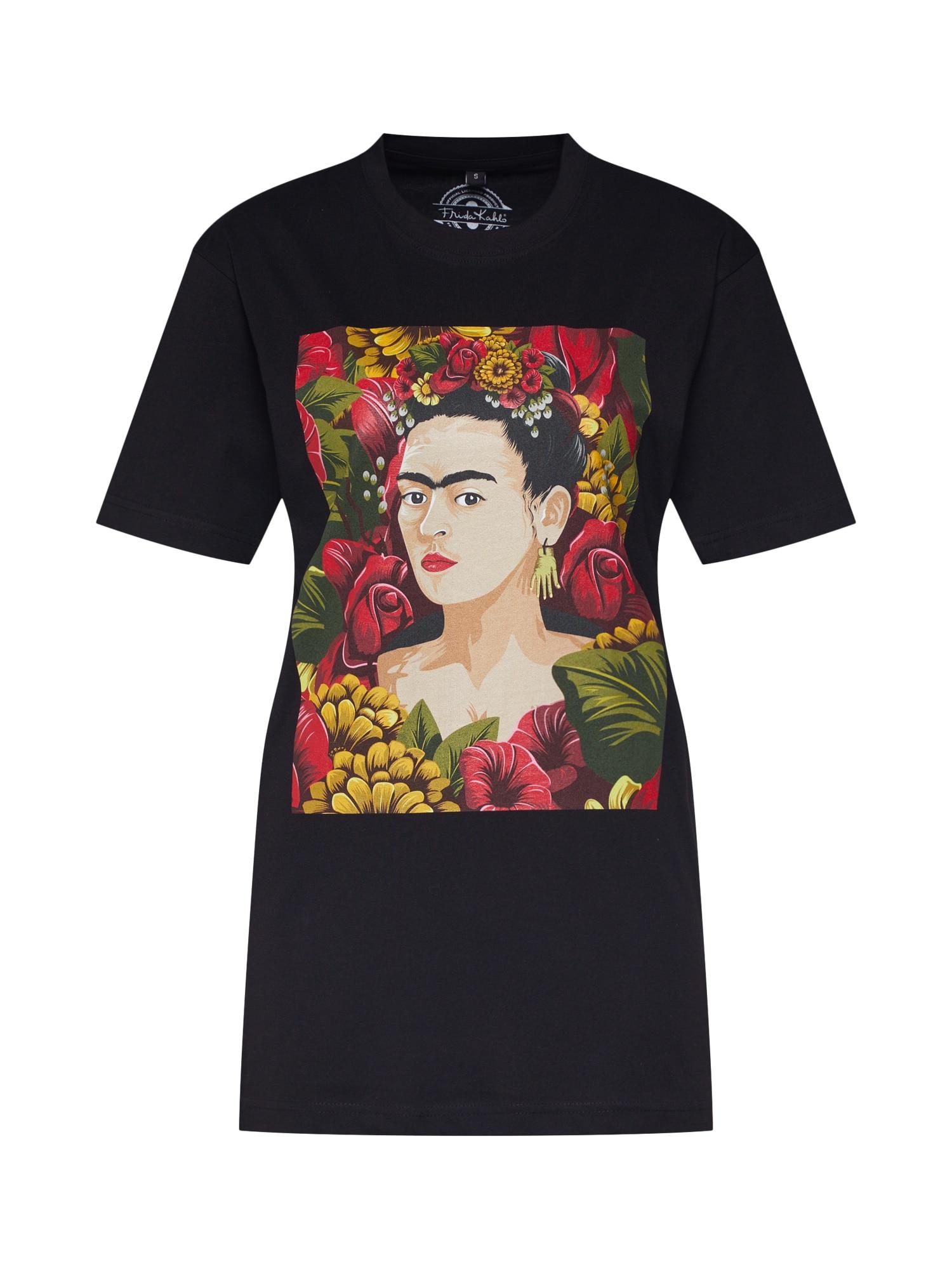Tričko Frida Kahlo Portrait mix barev černá Merchcode