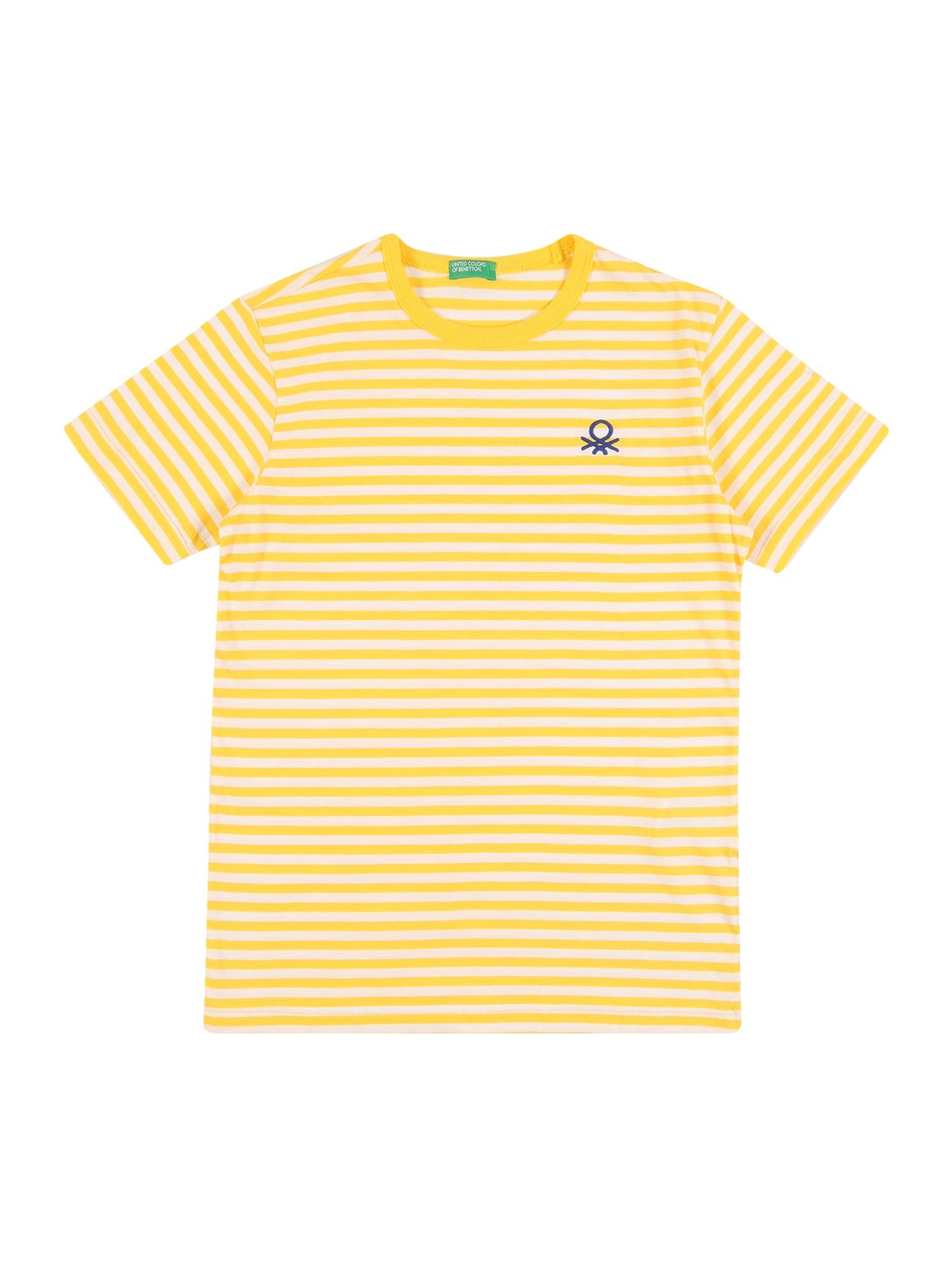 UNITED COLORS OF BENETTON Marškinėliai tamsiai mėlyna jūros spalva / geltona / balta