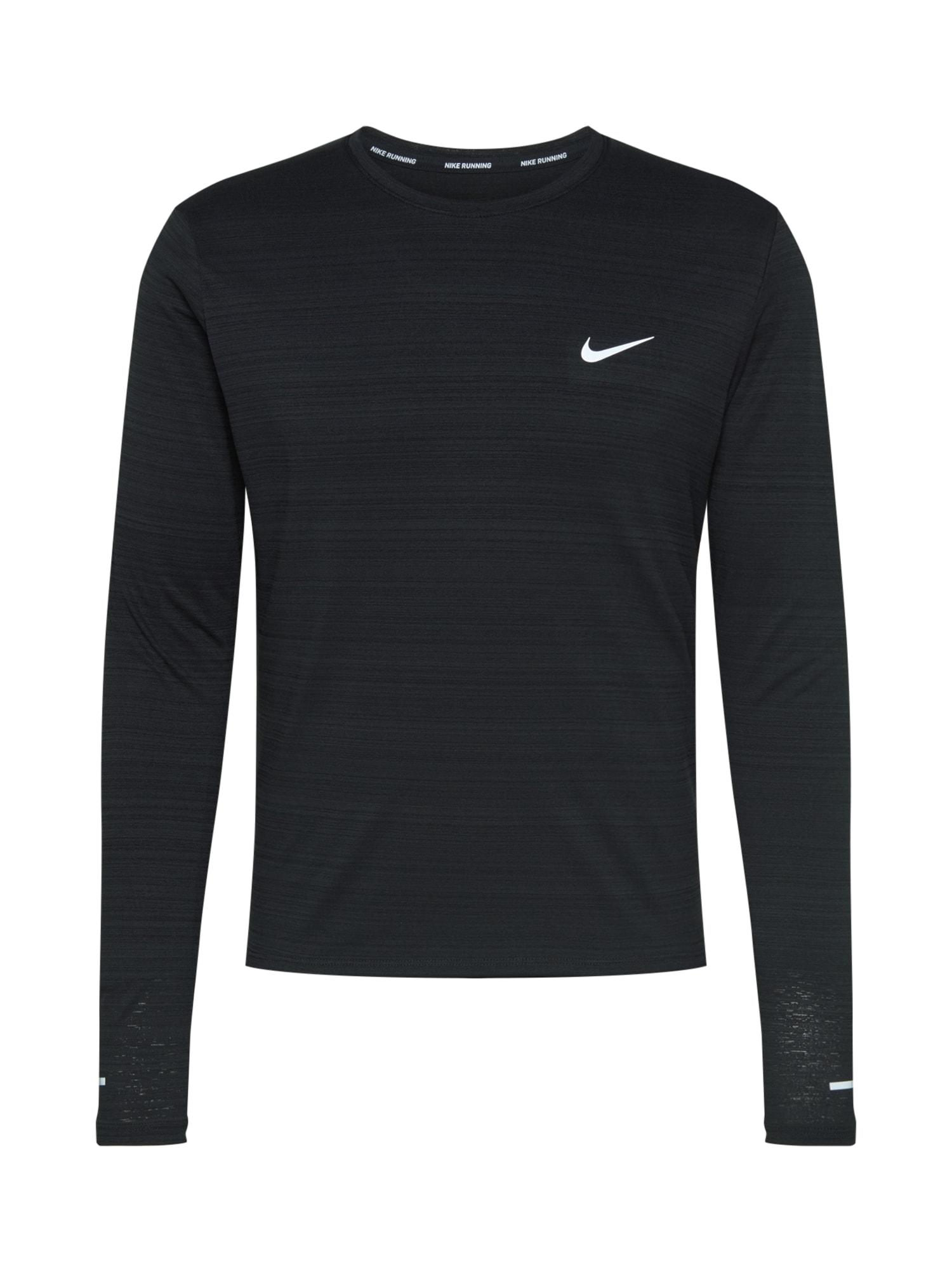 NIKE Funkčné tričko 'Miler'  čierna