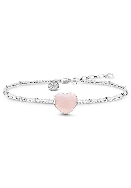 Armbaender für Frauen - Thomas Sabo Charm Armband 'Herz' Rosenquarz rosa silber  - Onlineshop ABOUT YOU