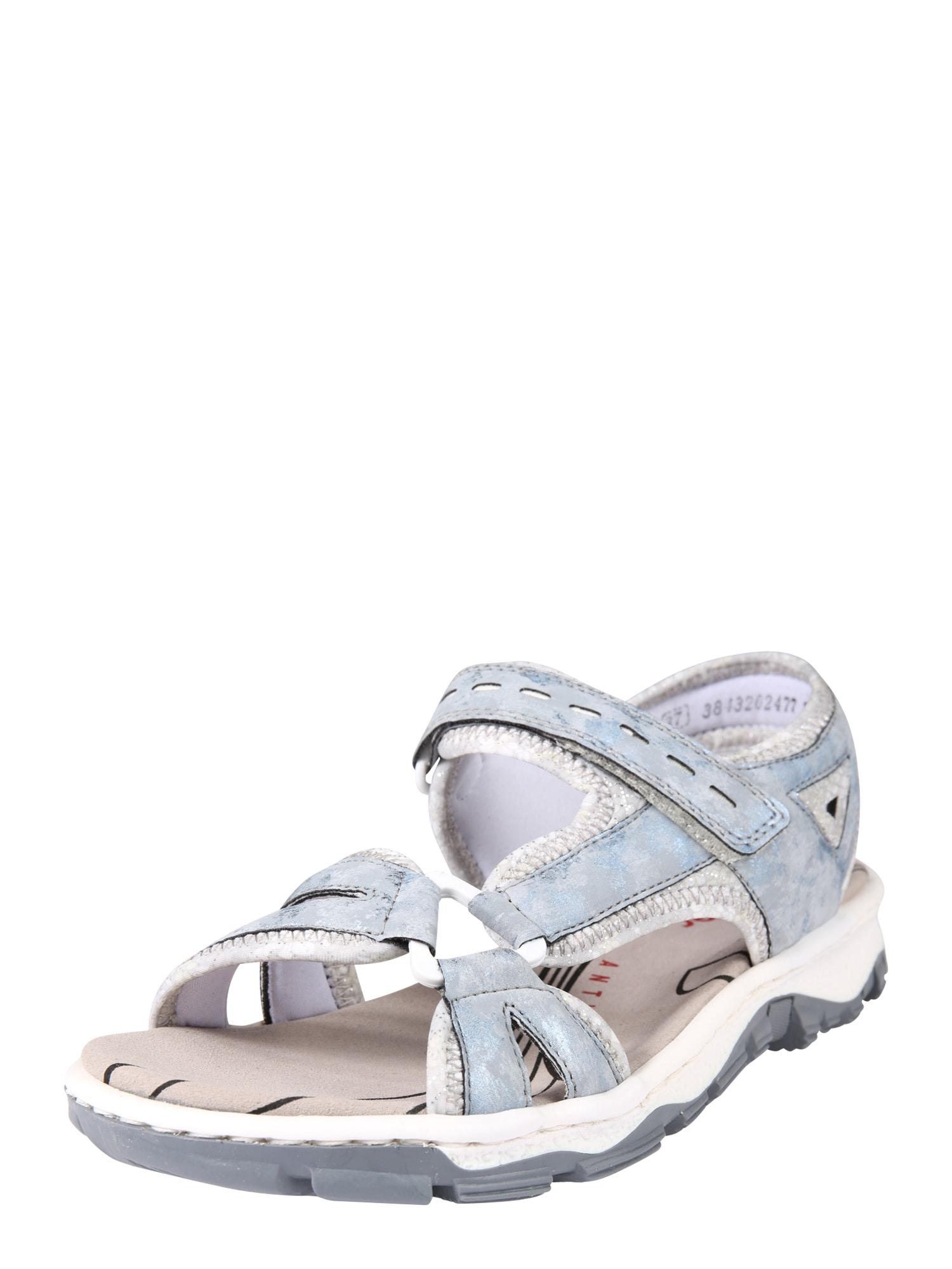 RIEKER Sandalai šviesiai mėlyna / pilka / sidabro pilka