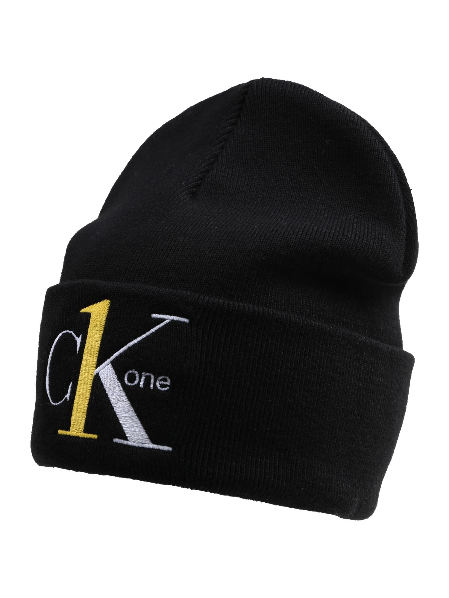 Calvin Klein Jeans Megzta kepurė '1 BEANIE' geltona / balta / juoda