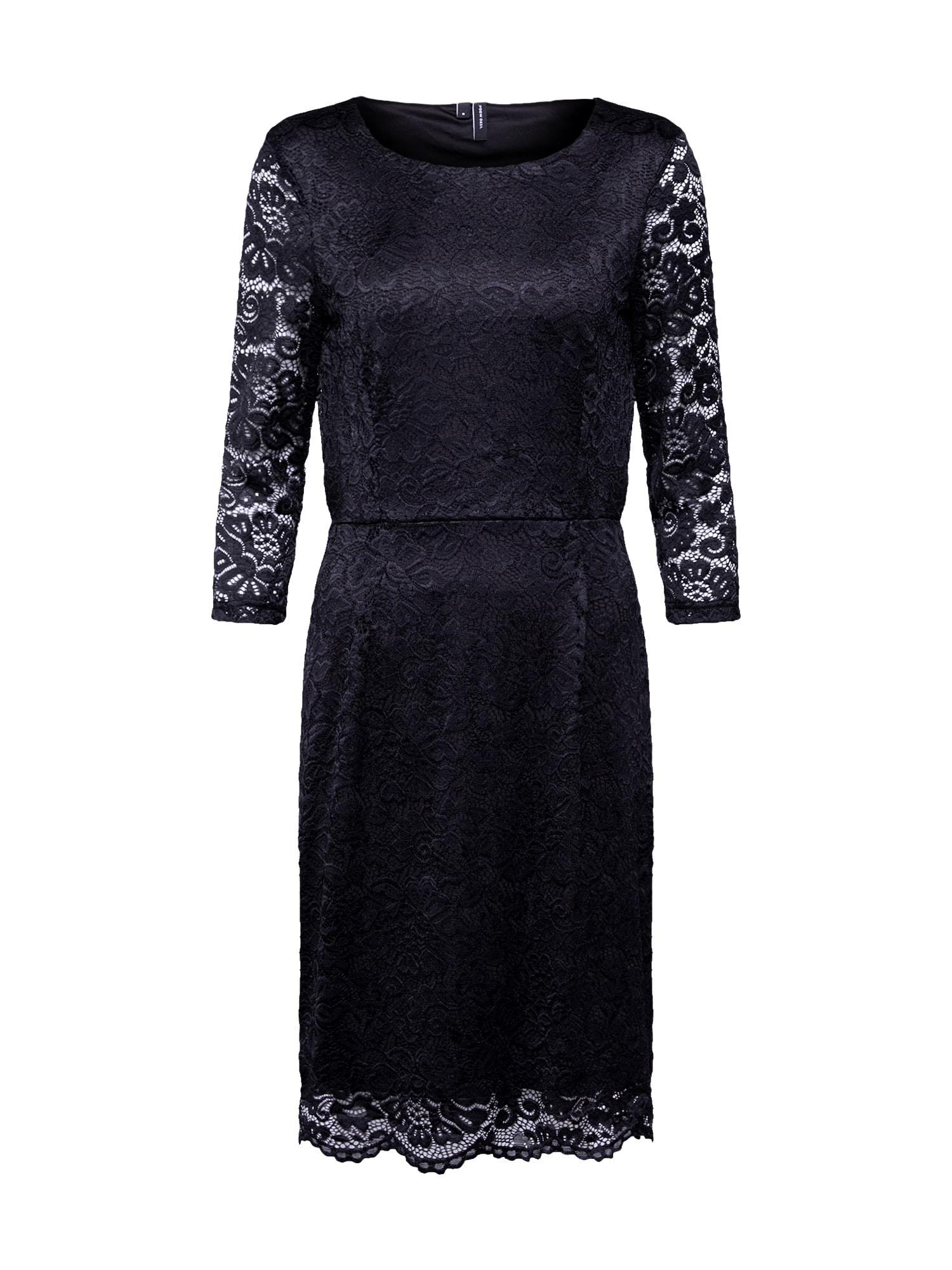 VERO MODA Trumpa kokteilinė suknelė 'VMSTELLA 3/4 LACE ABK DRESS COLOR' juoda