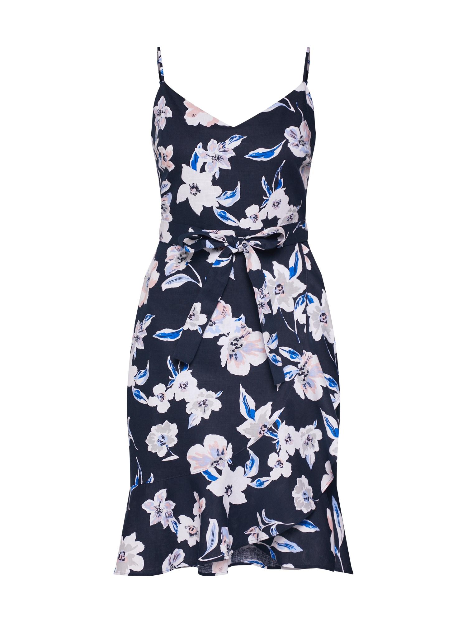 Letní šaty SL LINEN WRAP FNF PRINT námořnická modř Banana Republic