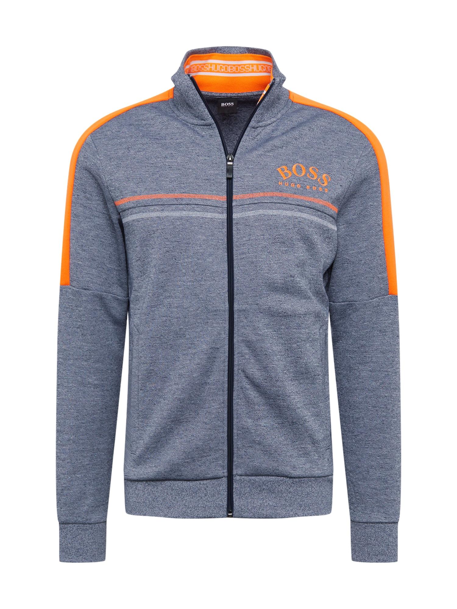 BOSS ATHLEISURE Džemperis 'Skaz' pilka / neoninė oranžinė