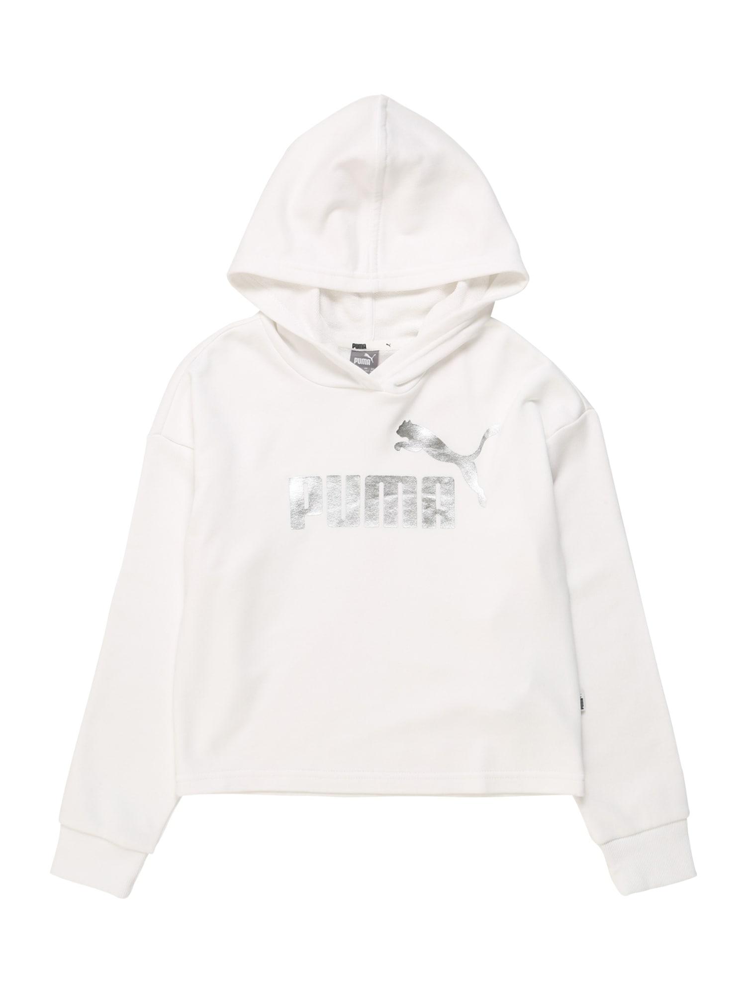 PUMA Sportinio tipo megztinis sidabrinė / balta