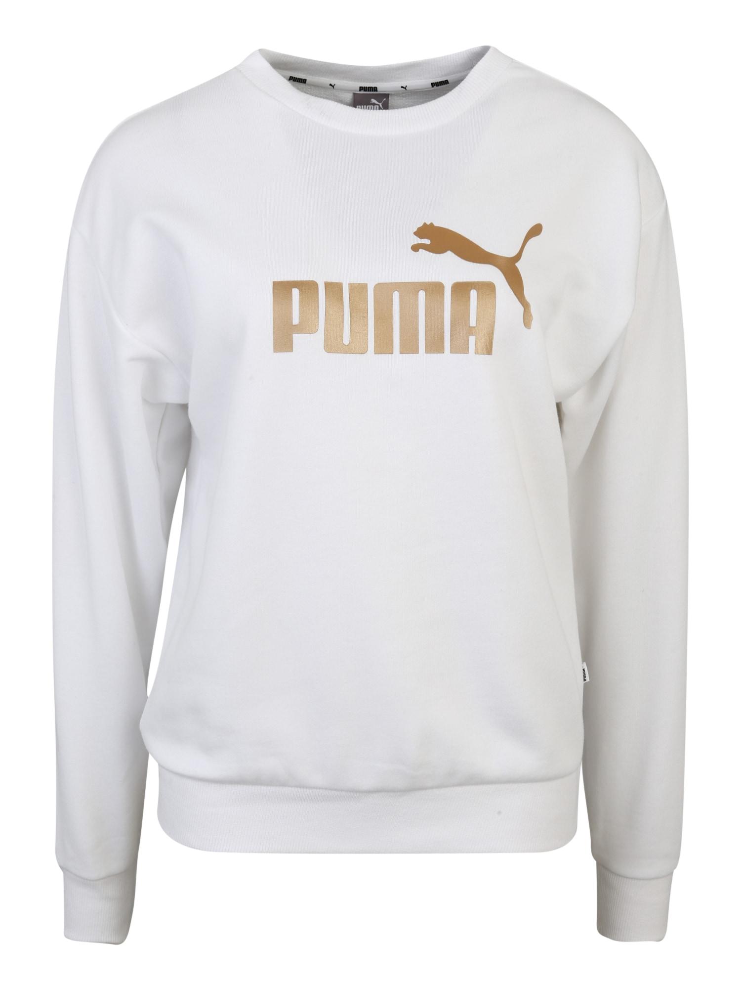 PUMA Sportinio tipo megztinis 'ESS+ Metallic ' auksas / balta