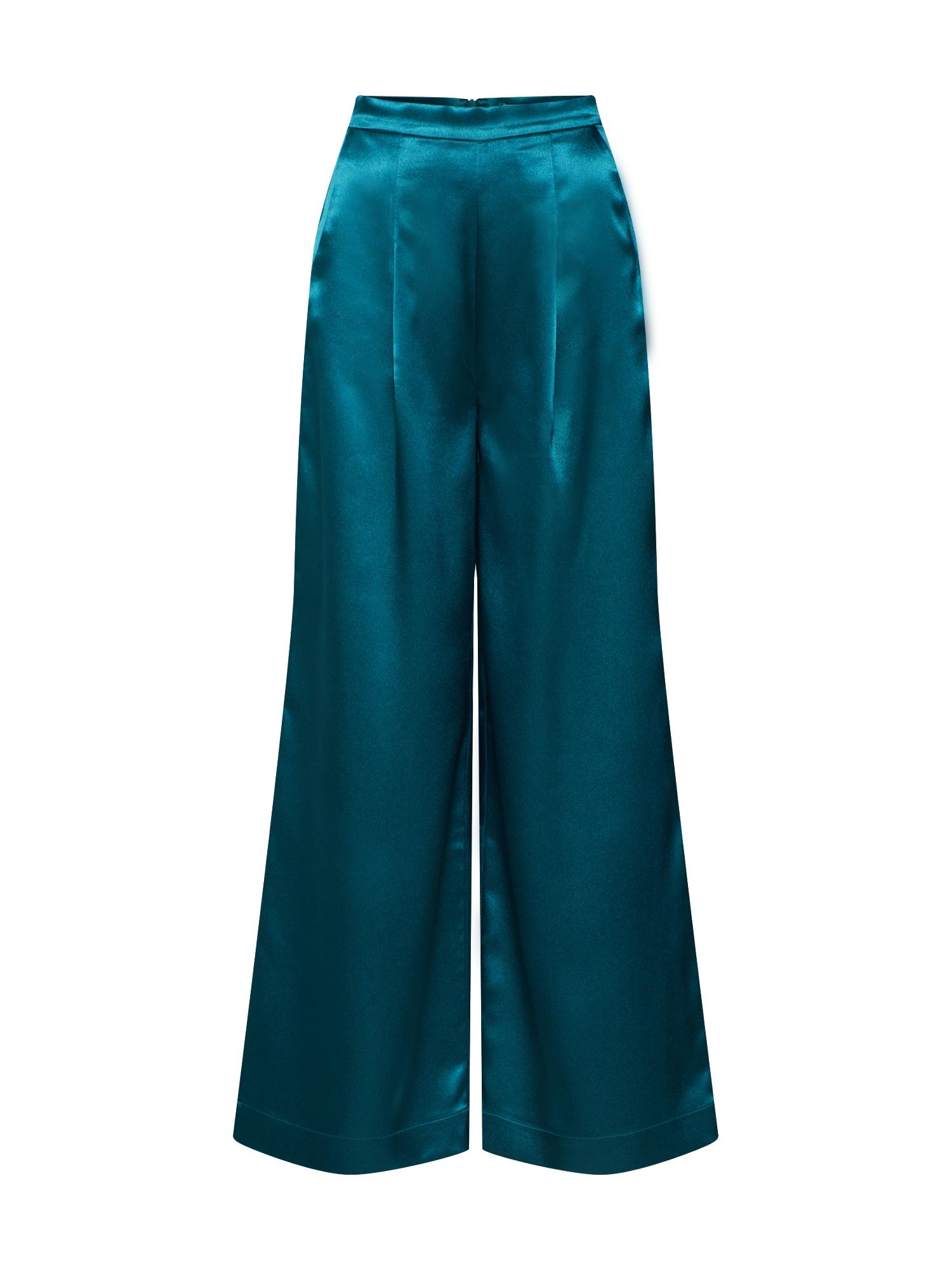 EDITED Klostuotos kelnės 'Manaba' žalia / benzino spalva
