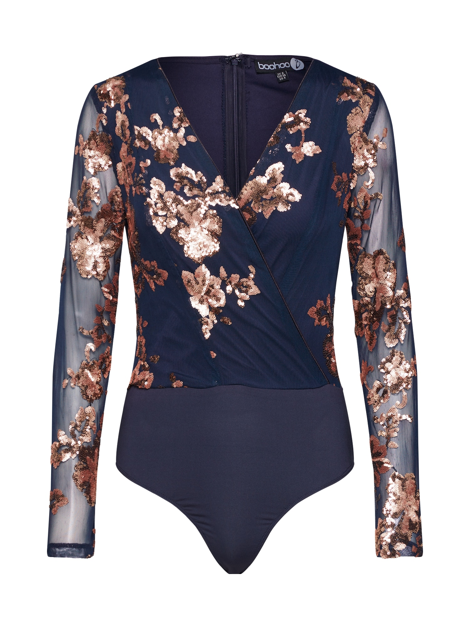 Boohoo Palaidinė 'Sequin Wrap Bodysuit' mėlyna / ruda / smėlio
