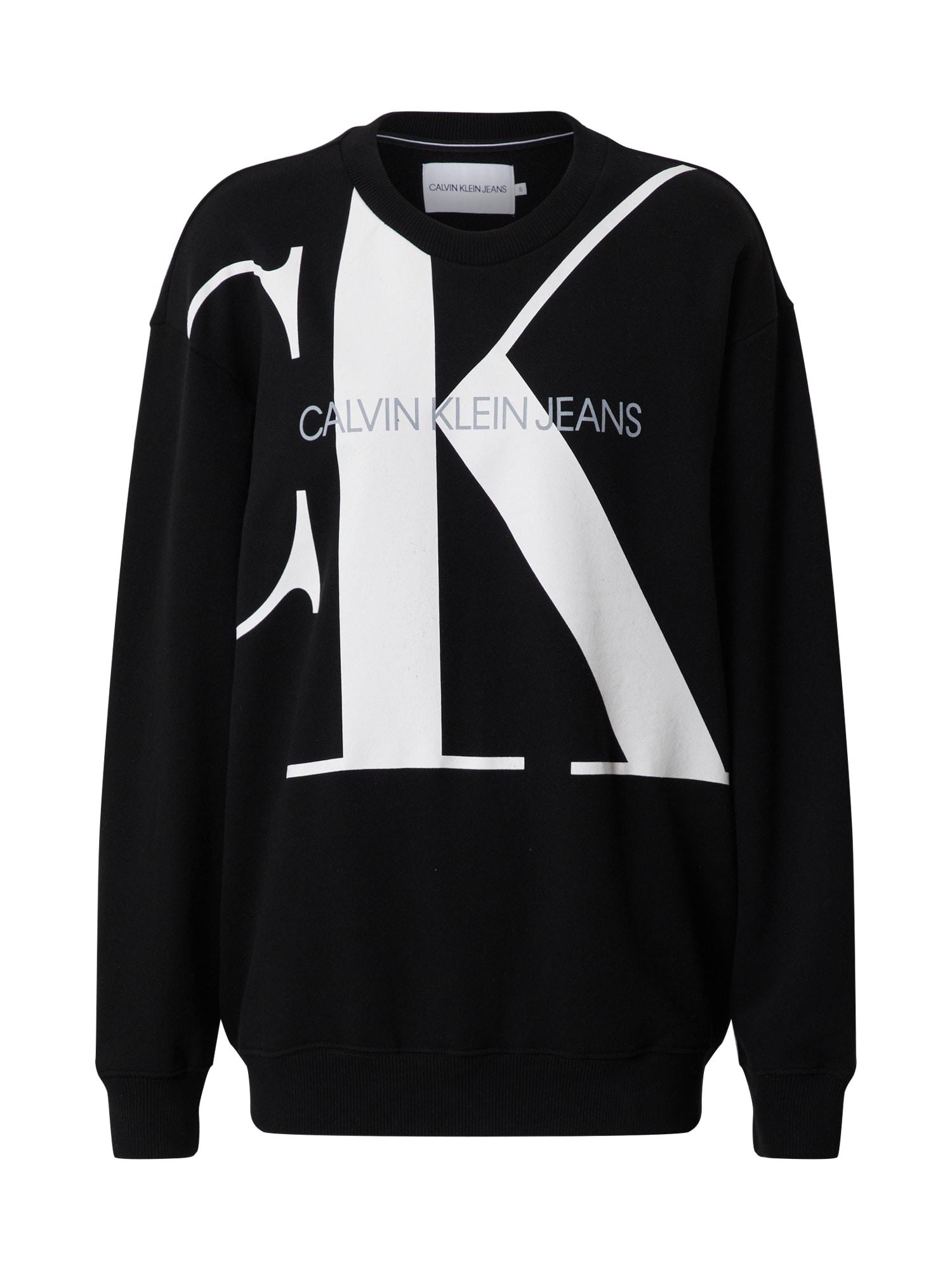 Calvin Klein Jeans Megztinis be užsegimo 'OVERSIZED' balta / juoda