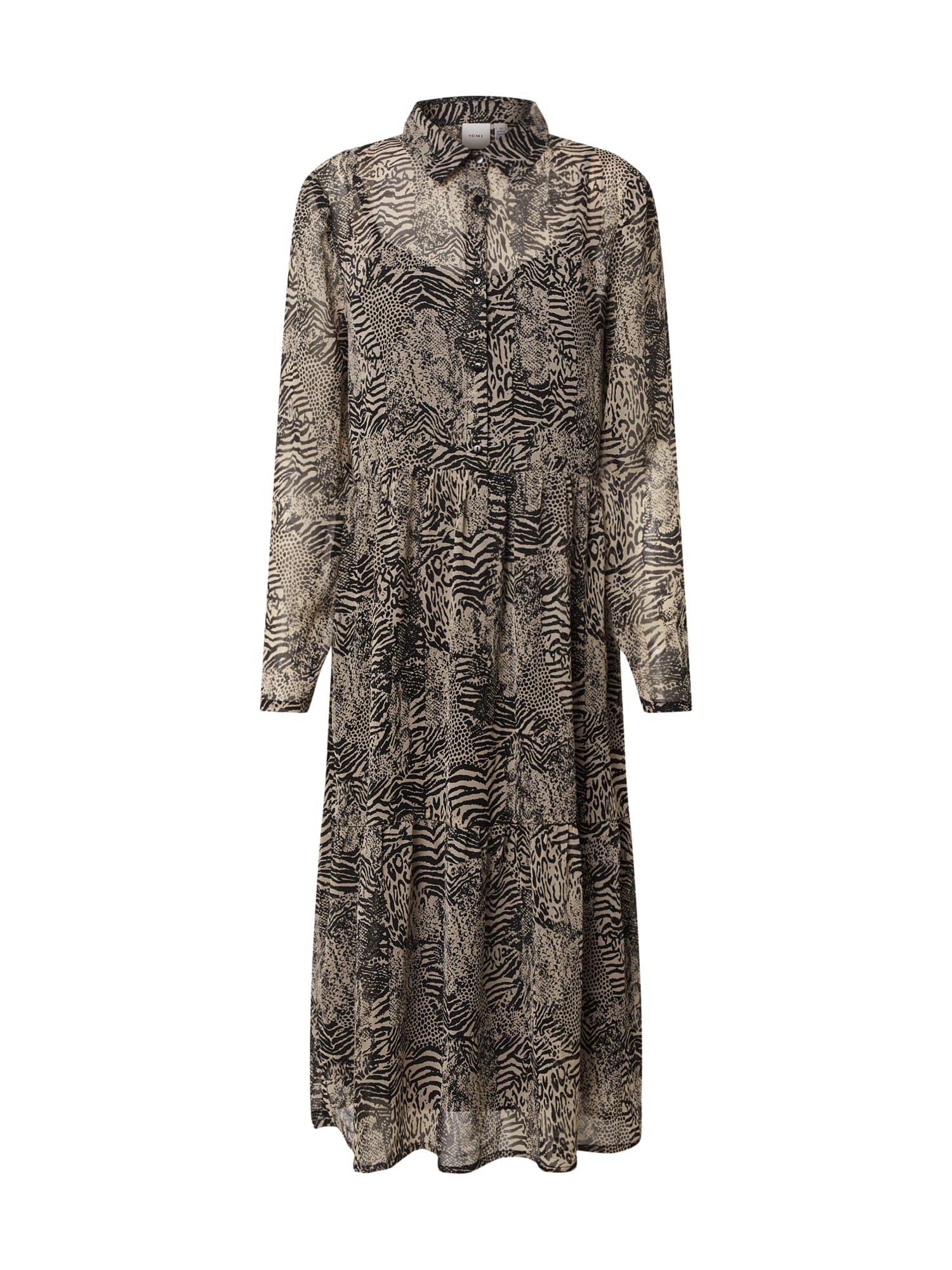 ICHI Košilové šaty 'IHASSIP'  bílá / černá